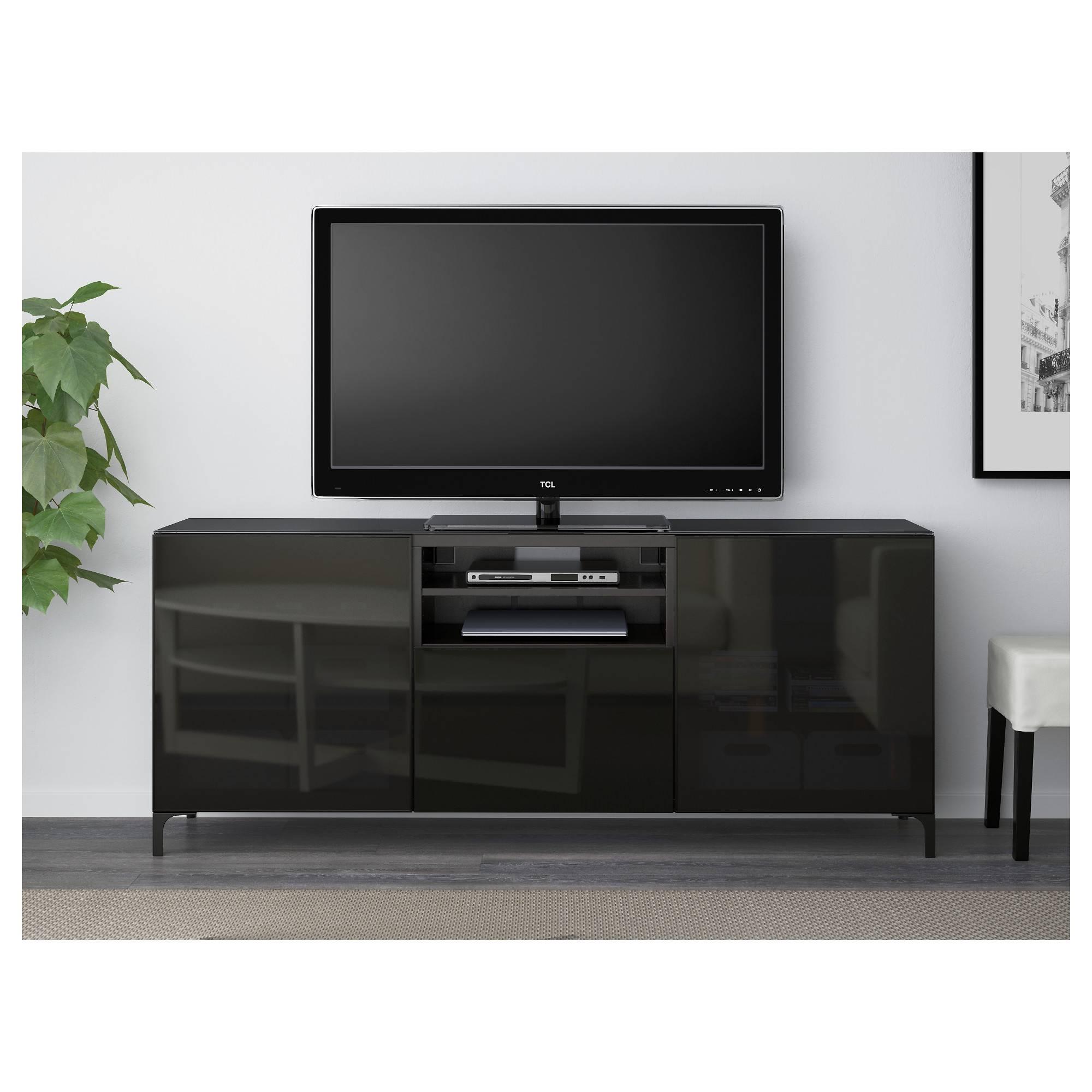 Bestå Tv Bench - White Selsviken/high-Gloss/light Grey-Green Clear with Tv Drawer Units (Image 2 of 15)