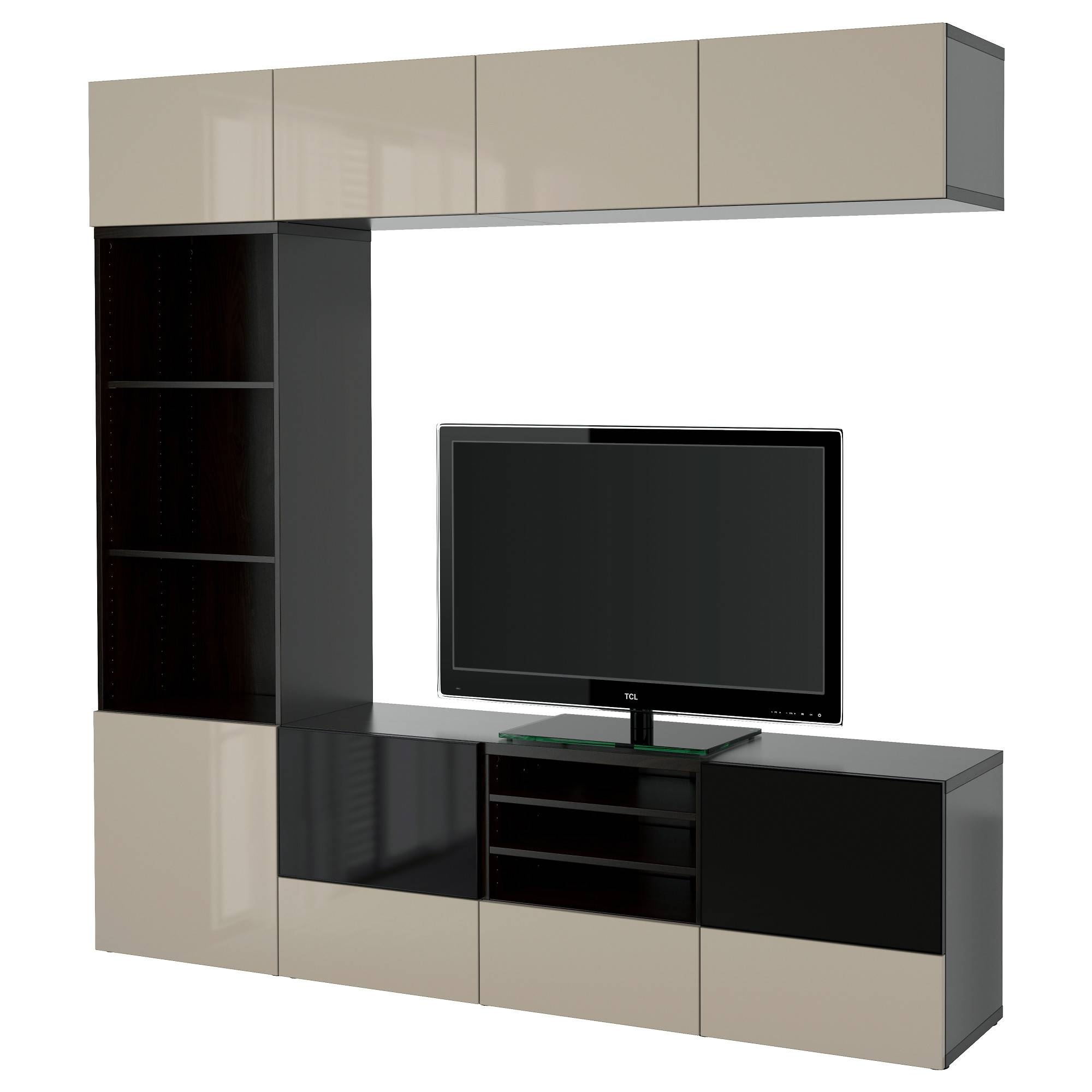 Bestå Tv Storage Combination/glass Doors Black Brown/selsviken Regarding Smoked Glass Tv Stands (View 8 of 15)