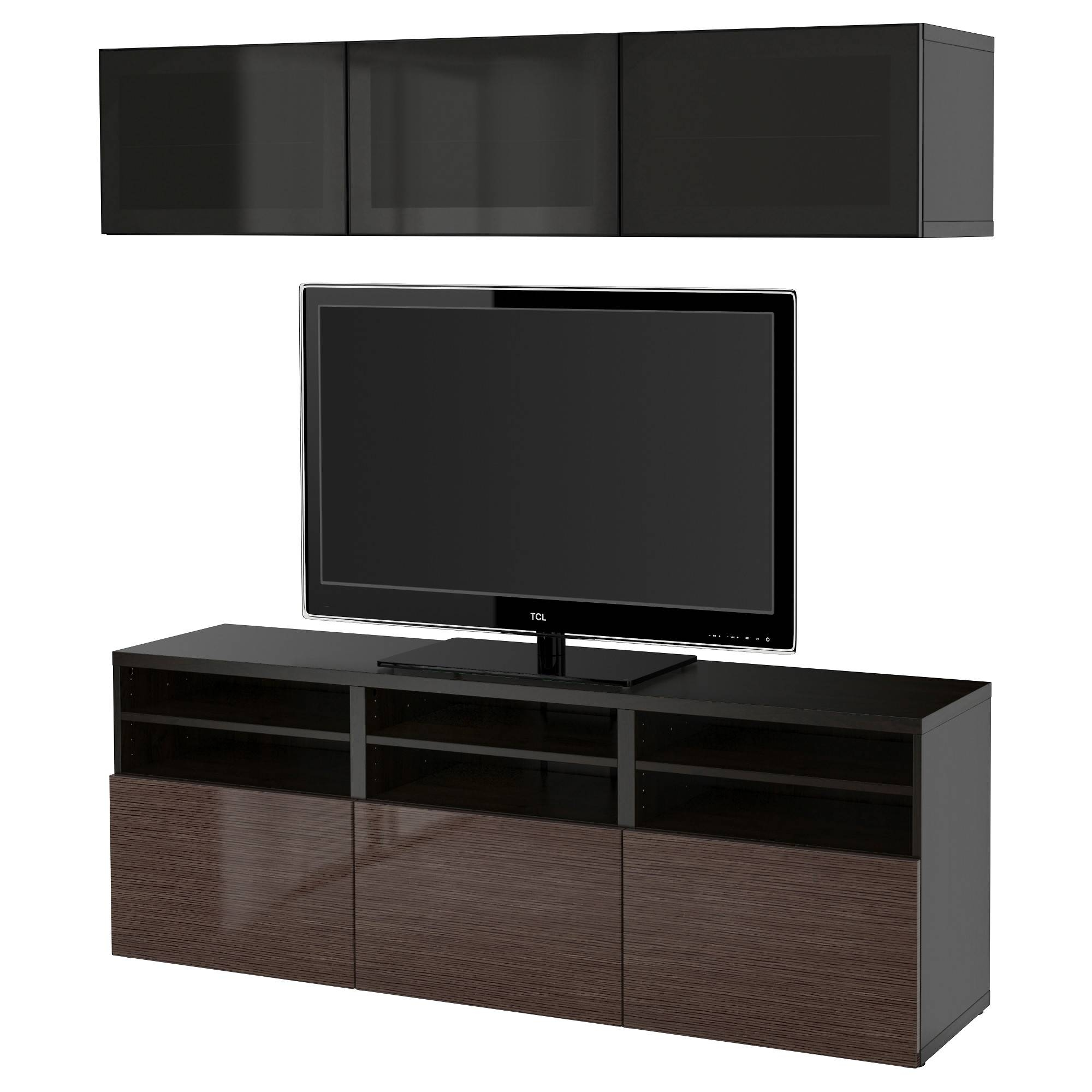 Bestå Tv Storage Combination/glass Doors Black Brown/selsviken With Smoked Glass Tv Stands (View 2 of 15)