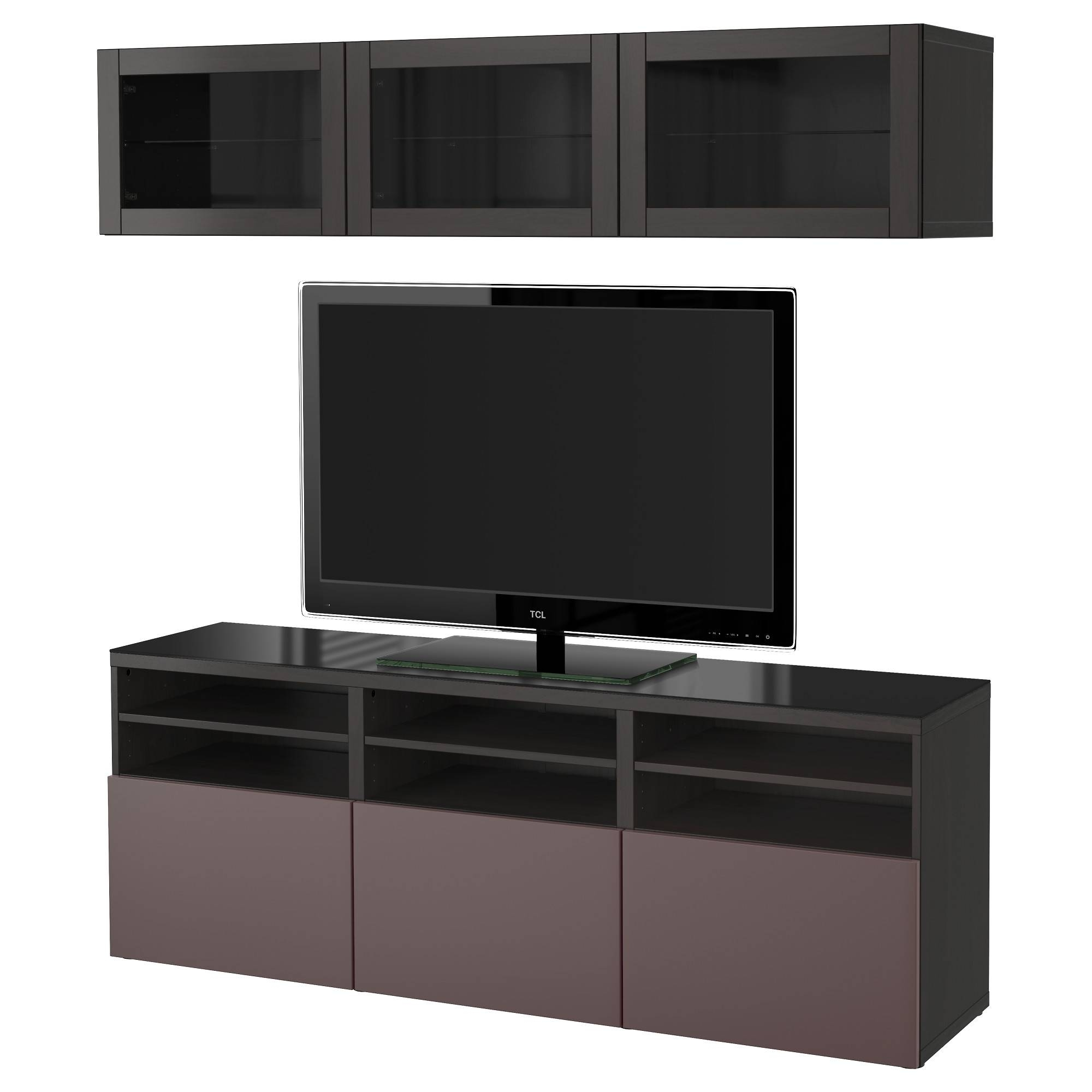 Bestå Tv Storage Combination/glass Doors Black Brown/valviken Dark Inside Glass  Tv Cabinets