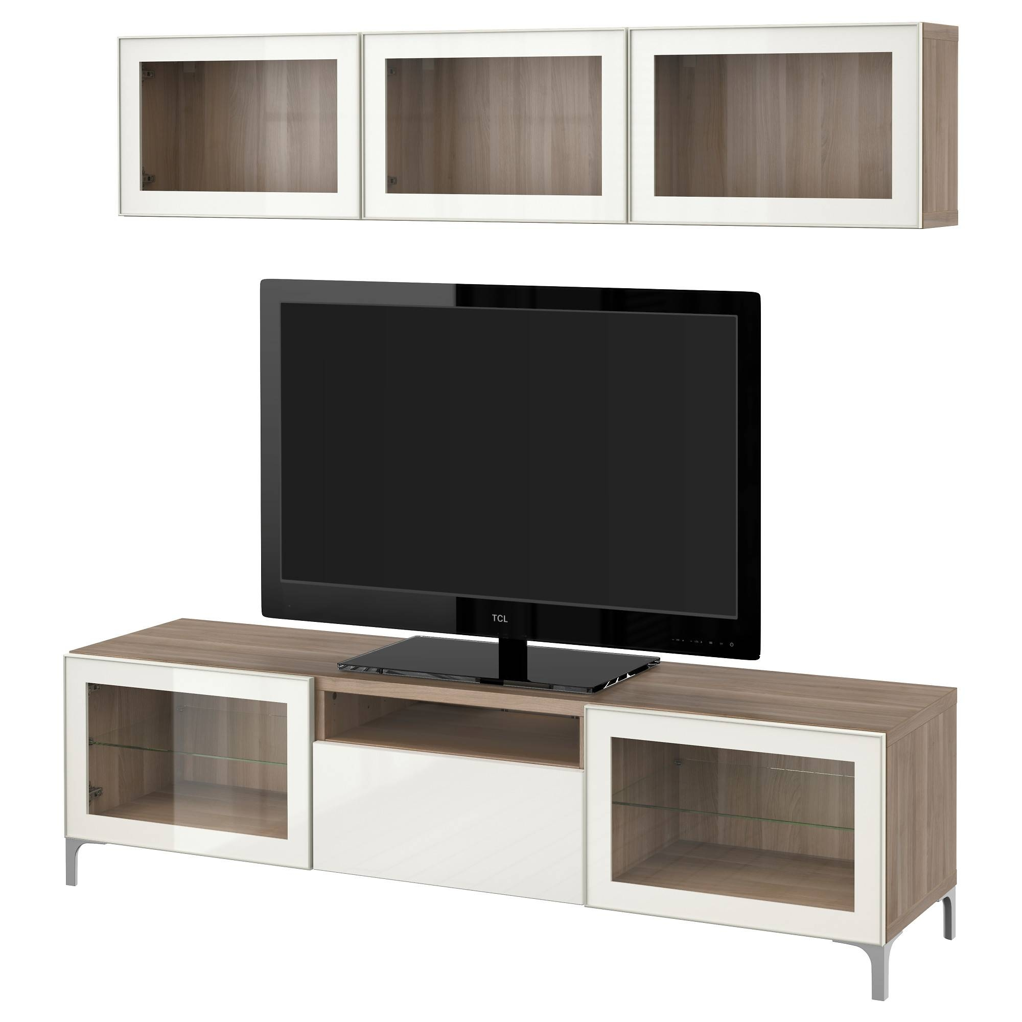 Bestå Tv Storage Combination/glass Doors - Walnut Effect Light intended for Walnut Tv Cabinets With Doors (Image 2 of 15)