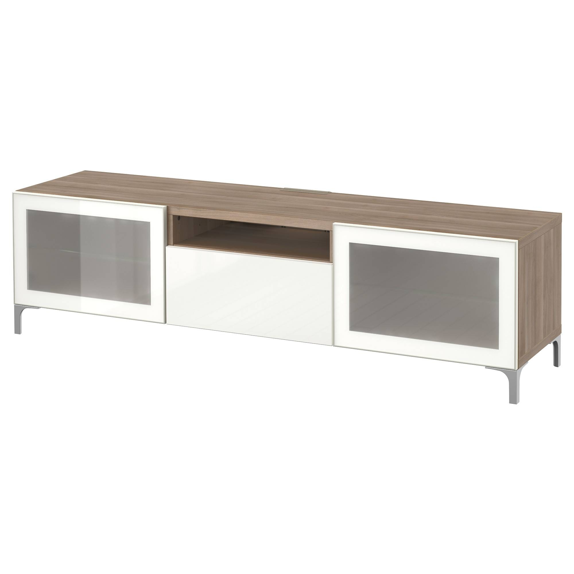 Bestå Tv Unit – Lappviken/sindvik White Clear Glass, Drawer Runner Pertaining To Smoked Glass Tv Stands (View 4 of 15)