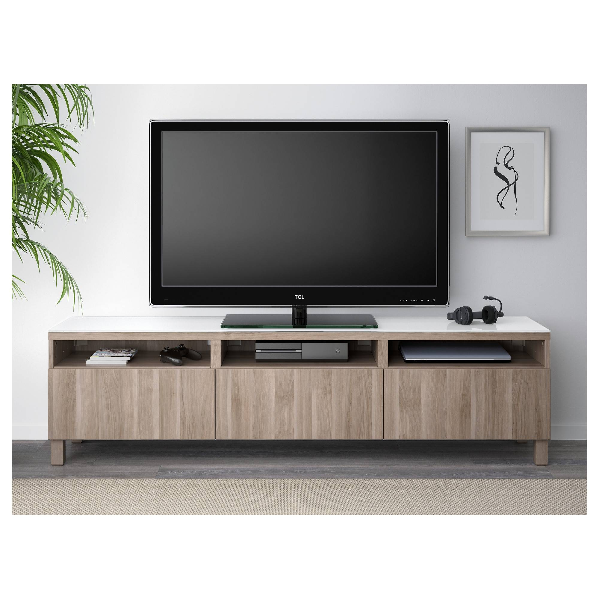 Bestå Tv Unit With Drawers - Black-Brown/selsviken High-Gloss in Tv Drawer Units (Image 5 of 15)
