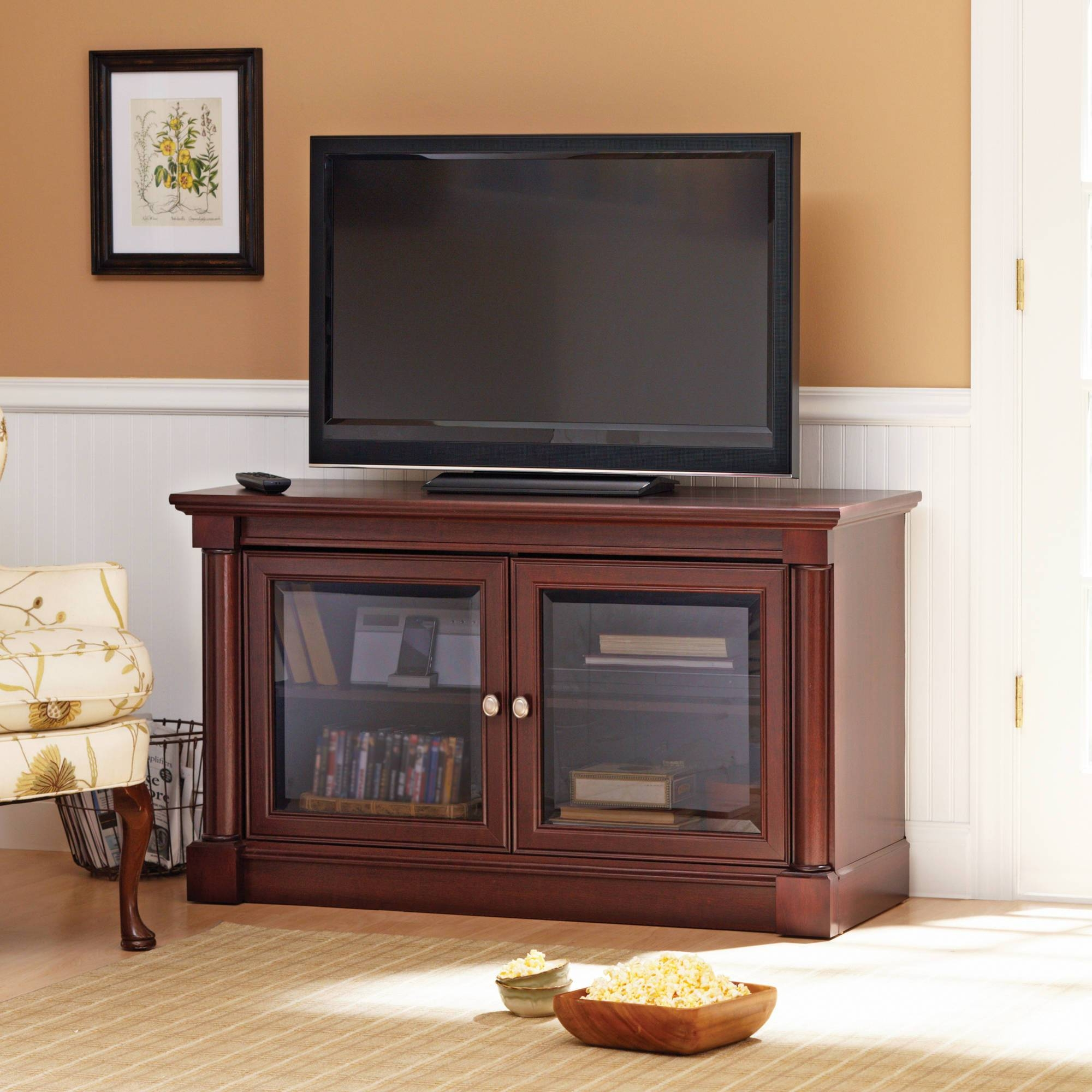 Better Homes And Gardens Ashwood Road Cherry Tv Stand, For Tvs Up throughout Cherry Wood Tv Stands (Image 2 of 15)