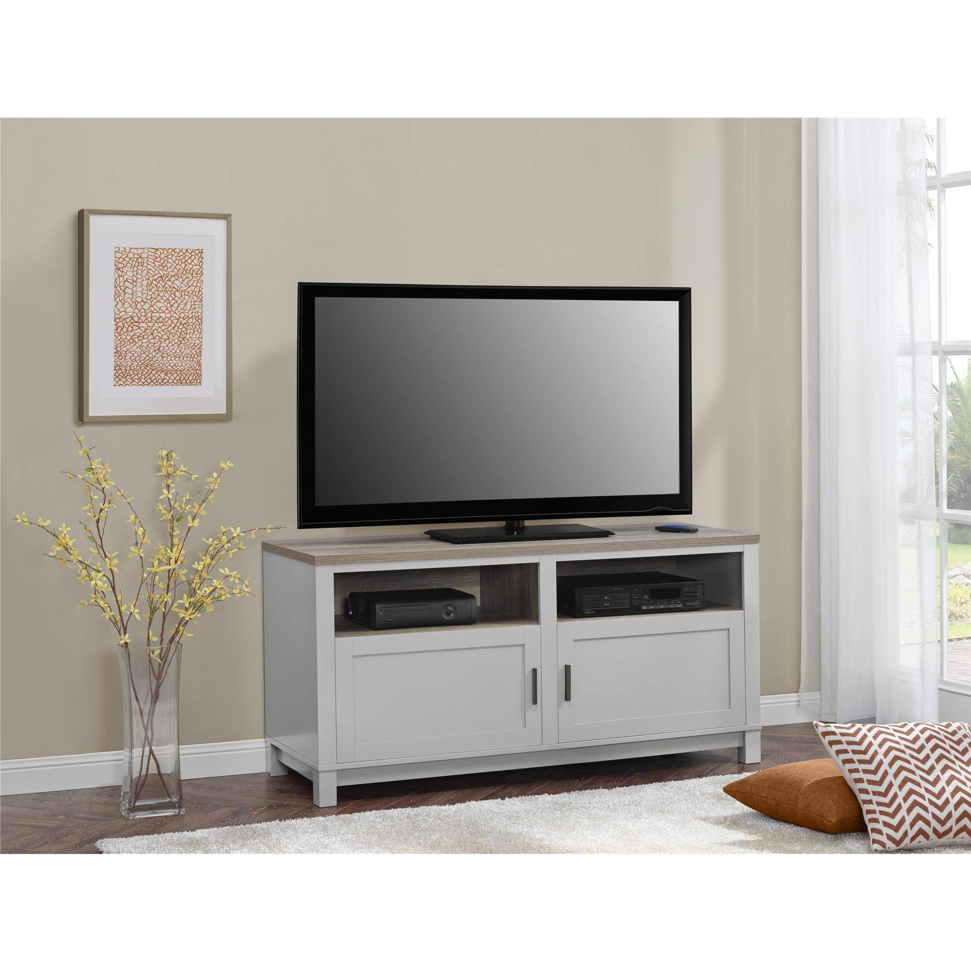 Better Homes And Gardens Langley Bay Tv Stand For Tvs Up To 60 within Grey Wood Tv Stands (Image 2 of 15)