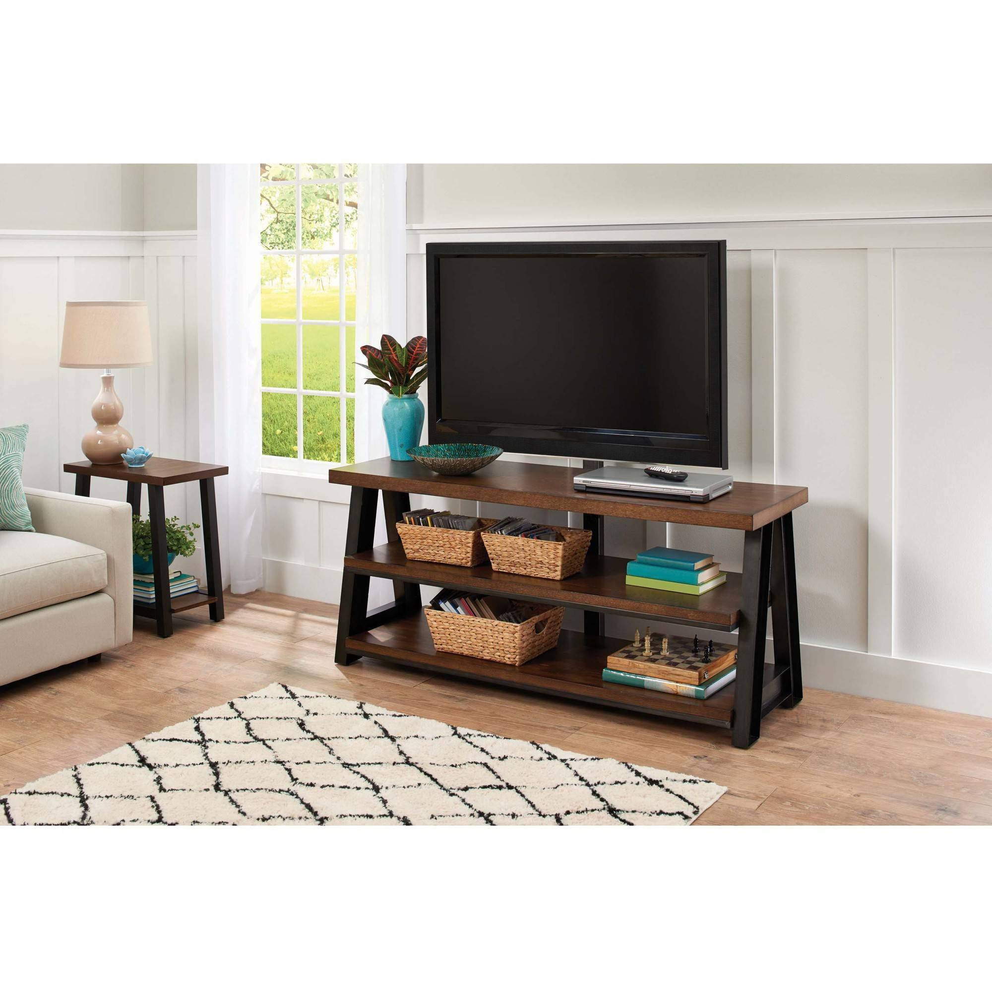 Better Homes And Gardens Mercer 3-In-1 Brown Tv Stand For Tvs Up intended for Tv Stands for 70 Inch Tvs (Image 6 of 15)