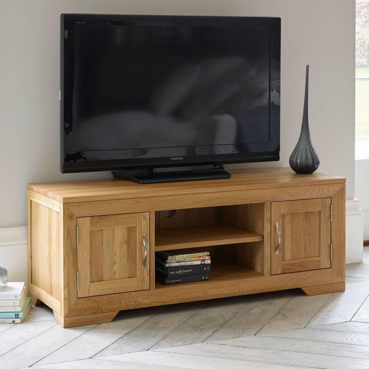 Bevel Natural Solid Oak Widescreen Tv + Dvd Cabinet inside Oak Tv Cabinets For Flat Screens (Image 2 of 15)