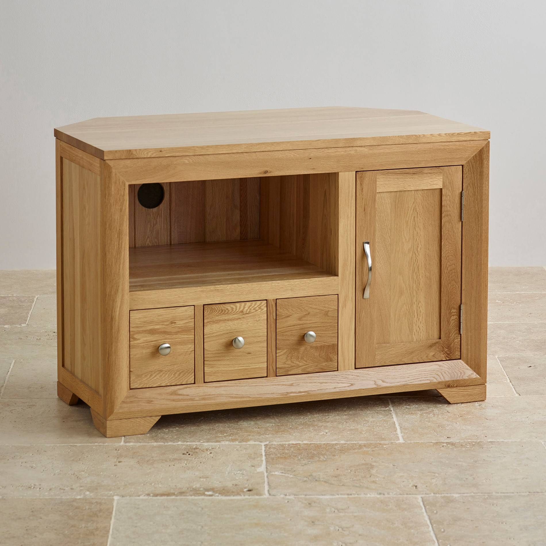 Bevel Natural Solid Oak Widescreen Tv + Dvd Cabinet Regarding Small Oak Corner Tv Stands (View 1 of 15)
