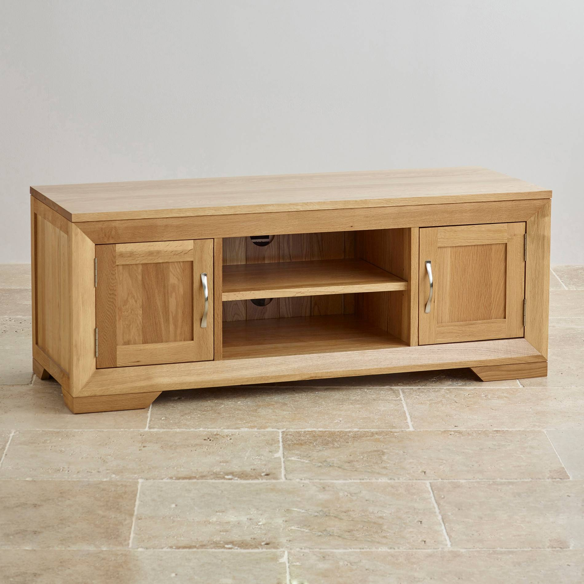 Bevel Natural Solid Oak Widescreen Tv + Dvd Cabinet within Chunky Tv Cabinets (Image 1 of 15)