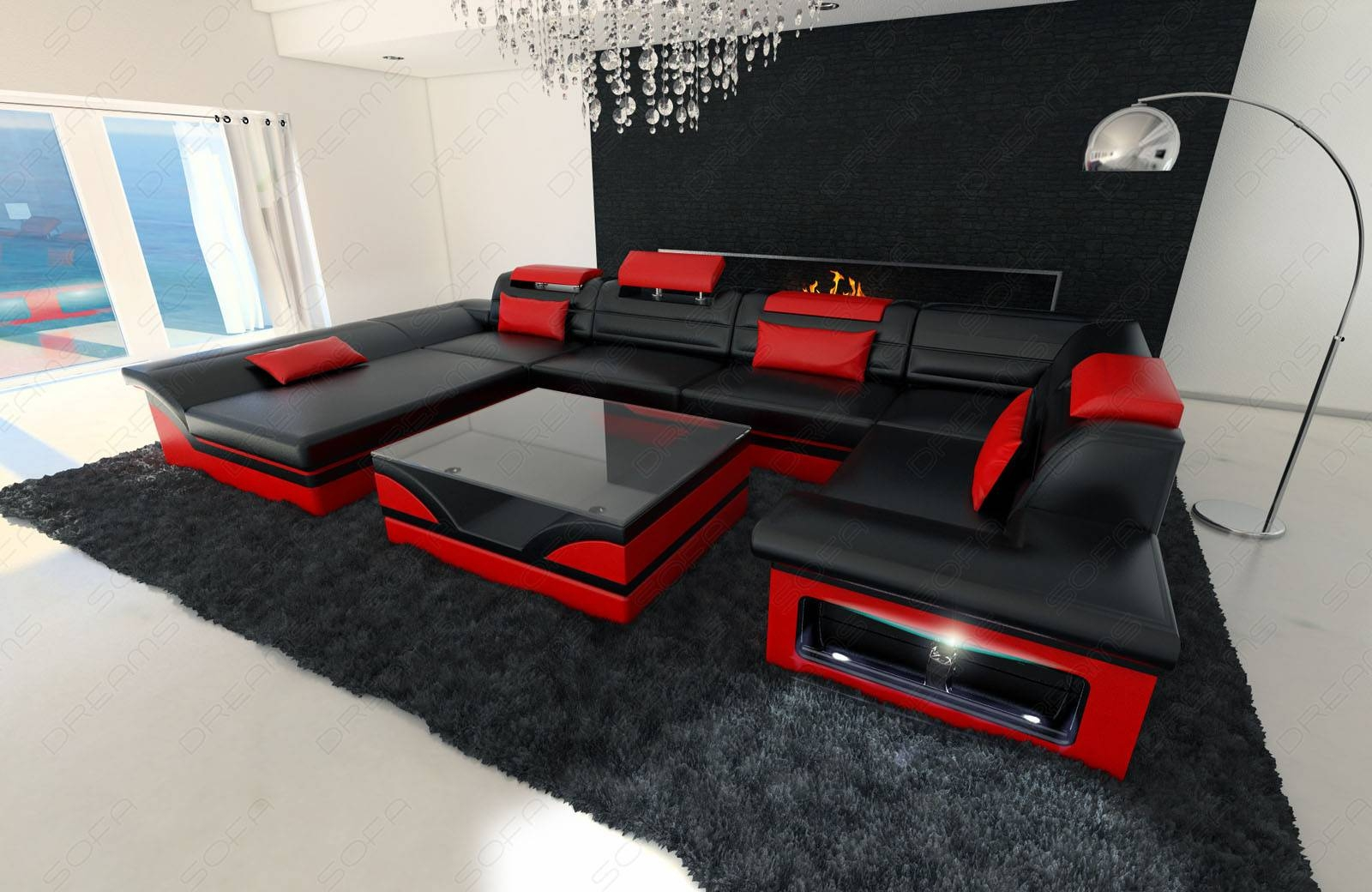 Big Leather Sofa Enzo With Led Lights Black Red | Ebay pertaining to Black and Red Sofas (Image 5 of 15)