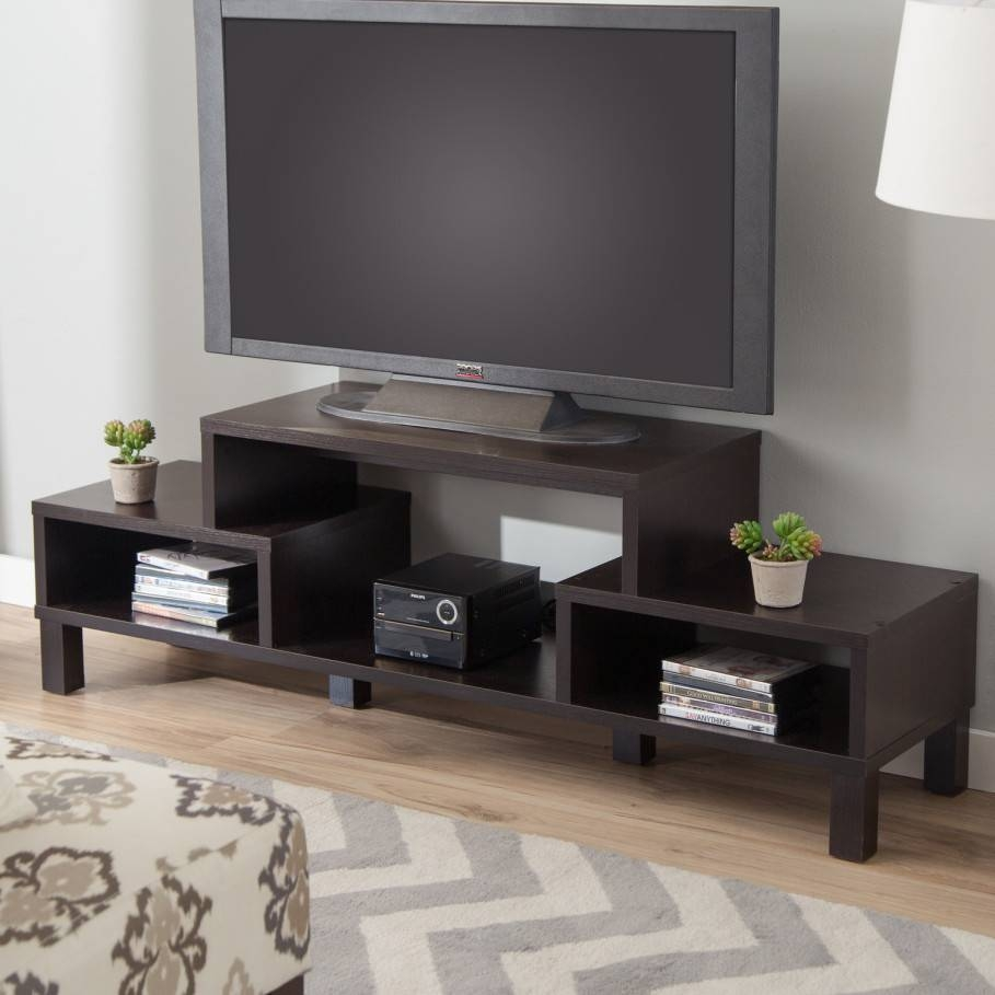 Big Led Tv On Unusual Tv Stands With Cute Flower Vase Above Books pertaining to Unusual Tv Cabinets (Image 3 of 15)