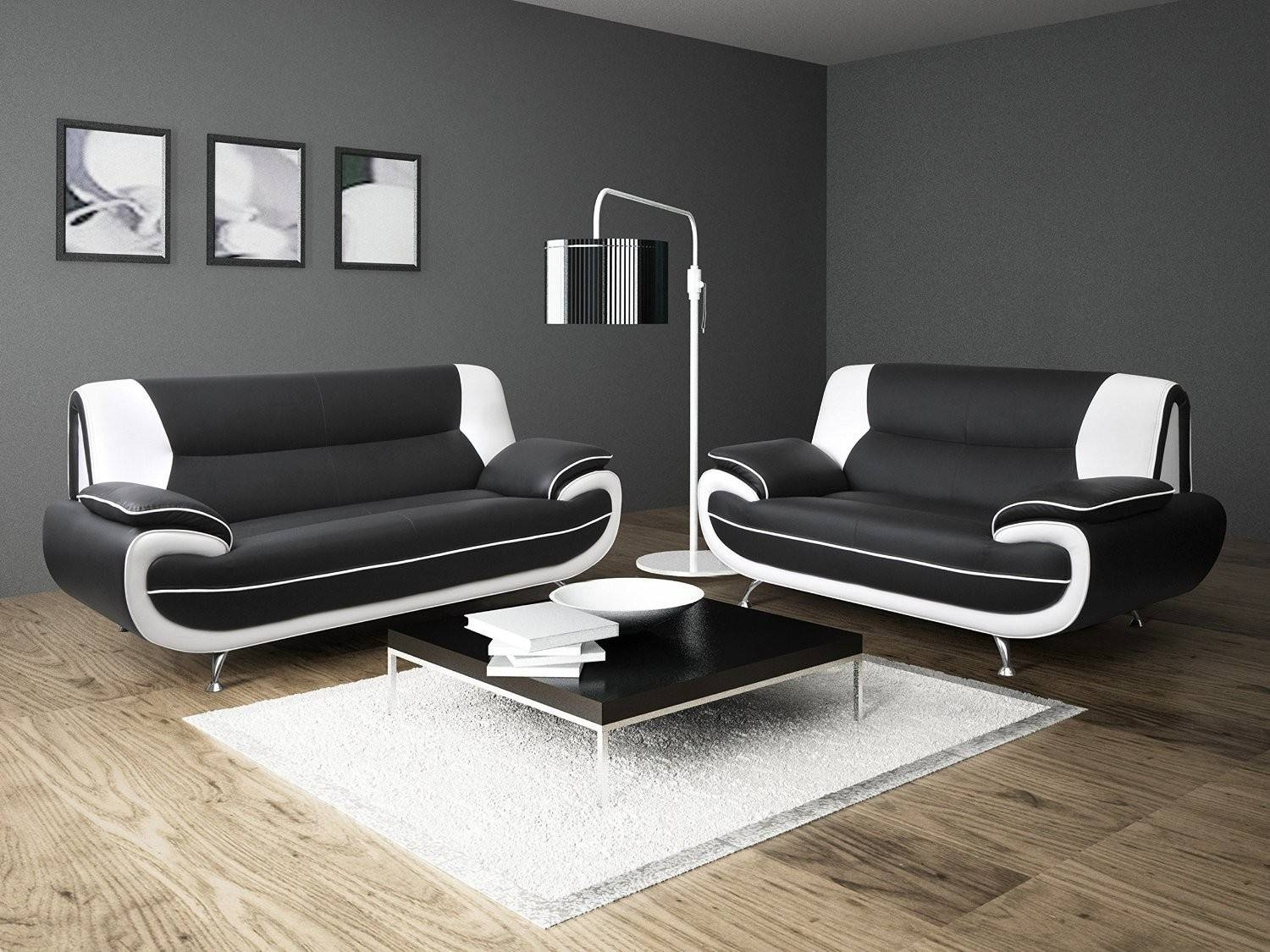 Black And White Leather Sofa Set 24 With Black And White Leather throughout Black and White Leather Sofas (Image 4 of 15)