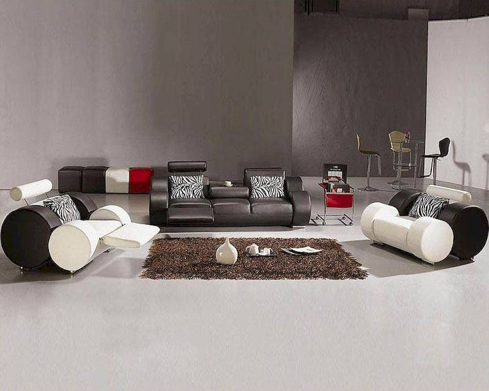 Black And White Leather Sofa Set 44L3088 with Black And White Leather Sofas (Image 6 of 15)