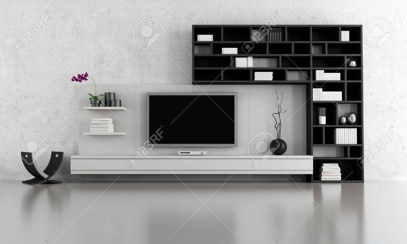 Black And White Living Room With Tv Stand And Bookcase - Rendering regarding Tv Stands With Matching Bookcases (Image 4 of 15)