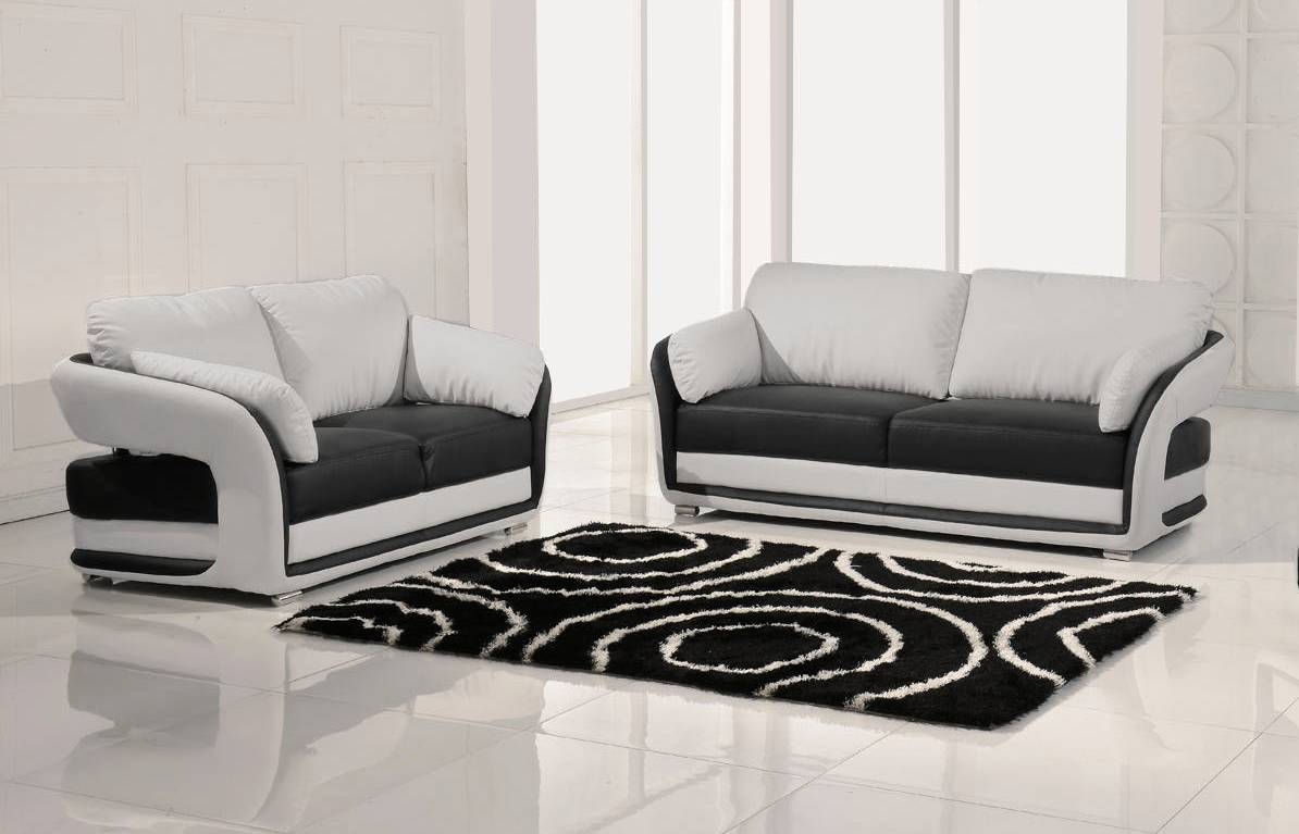 Black And White Sofa, Lewis Black & White Pu Leather 3 2 Seater throughout Black and White Sofas and Loveseats (Image 5 of 15)