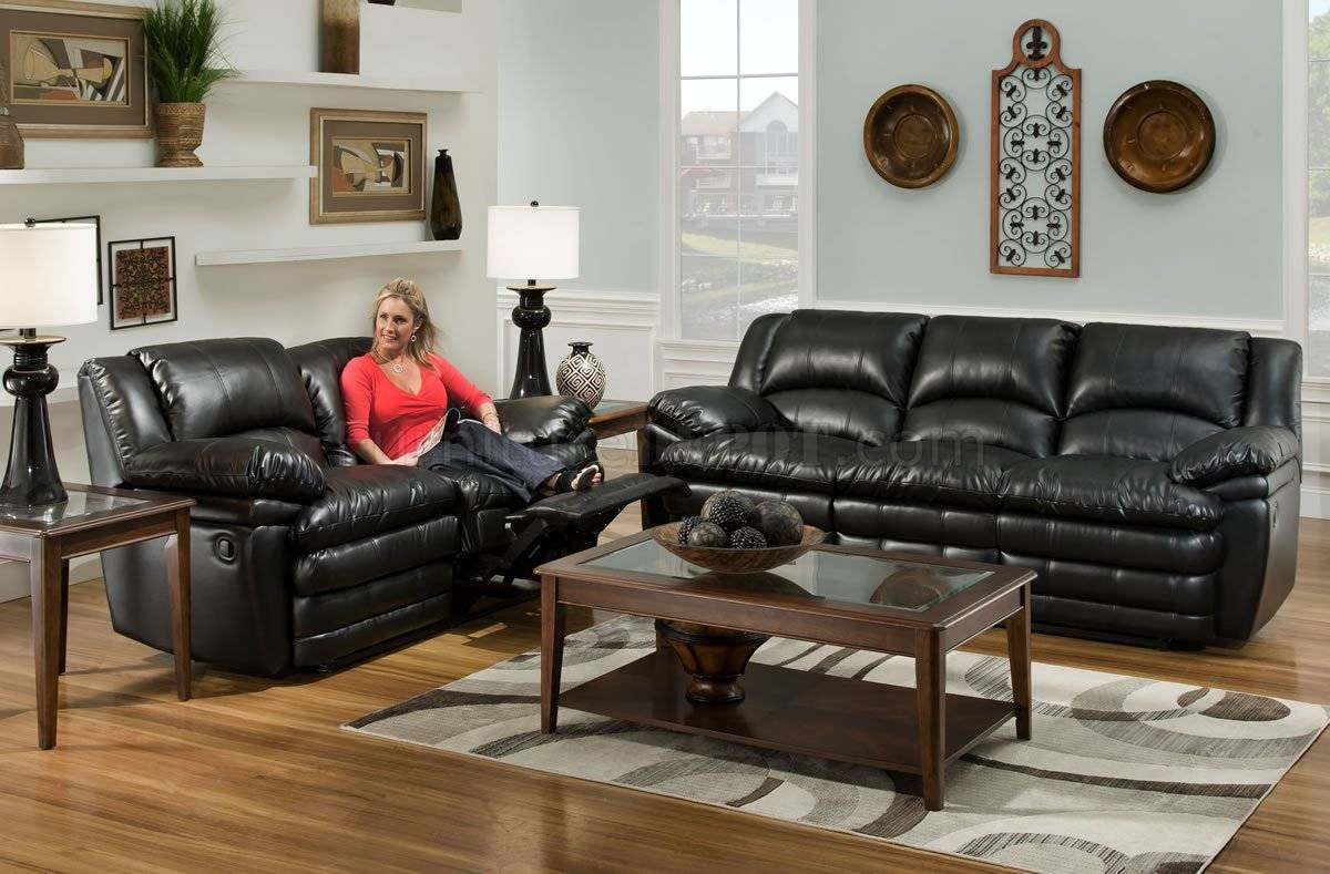 Black Bentley Bonded Leather Reclining Sofa & Loveseat Set intended for Black Leather Sofas and Loveseat Sets (Image 3 of 15)
