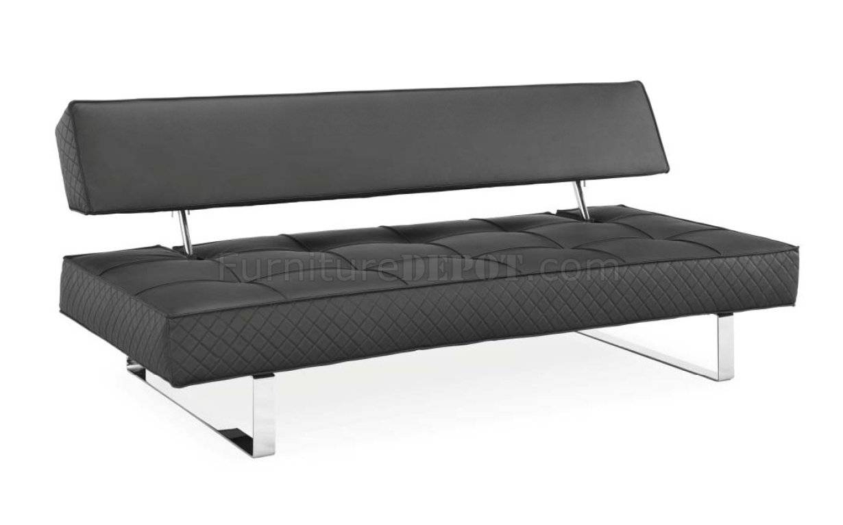 Black Bonded Leather Modern Sofa Bed W/chrome Legs intended for Sofas With Chrome Legs (Image 6 of 15)
