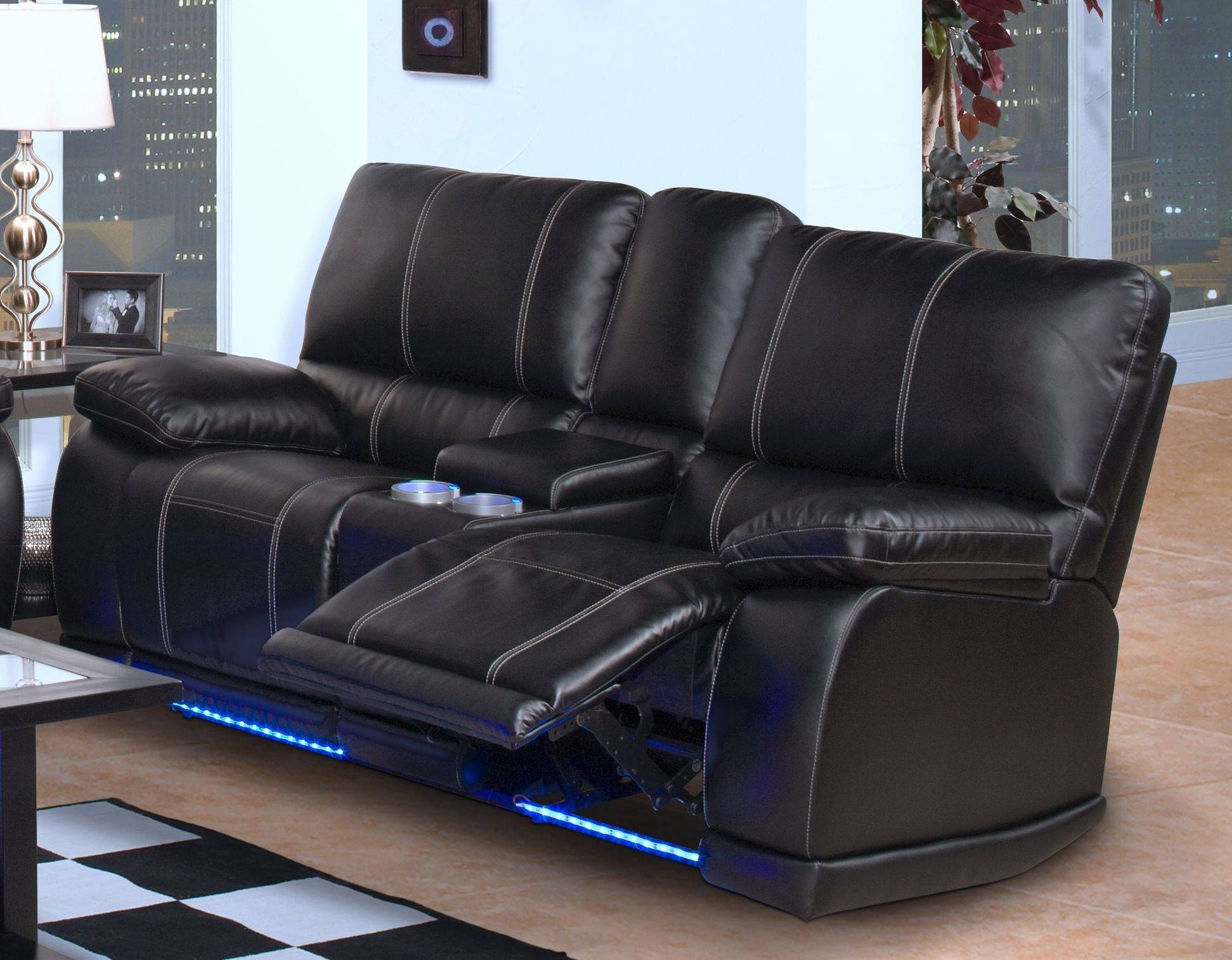 Black Bonded Leather Reclining Sofa Console Storage Lighted Drink intended for Sofas With Cup Holders (Image 1 of 15)