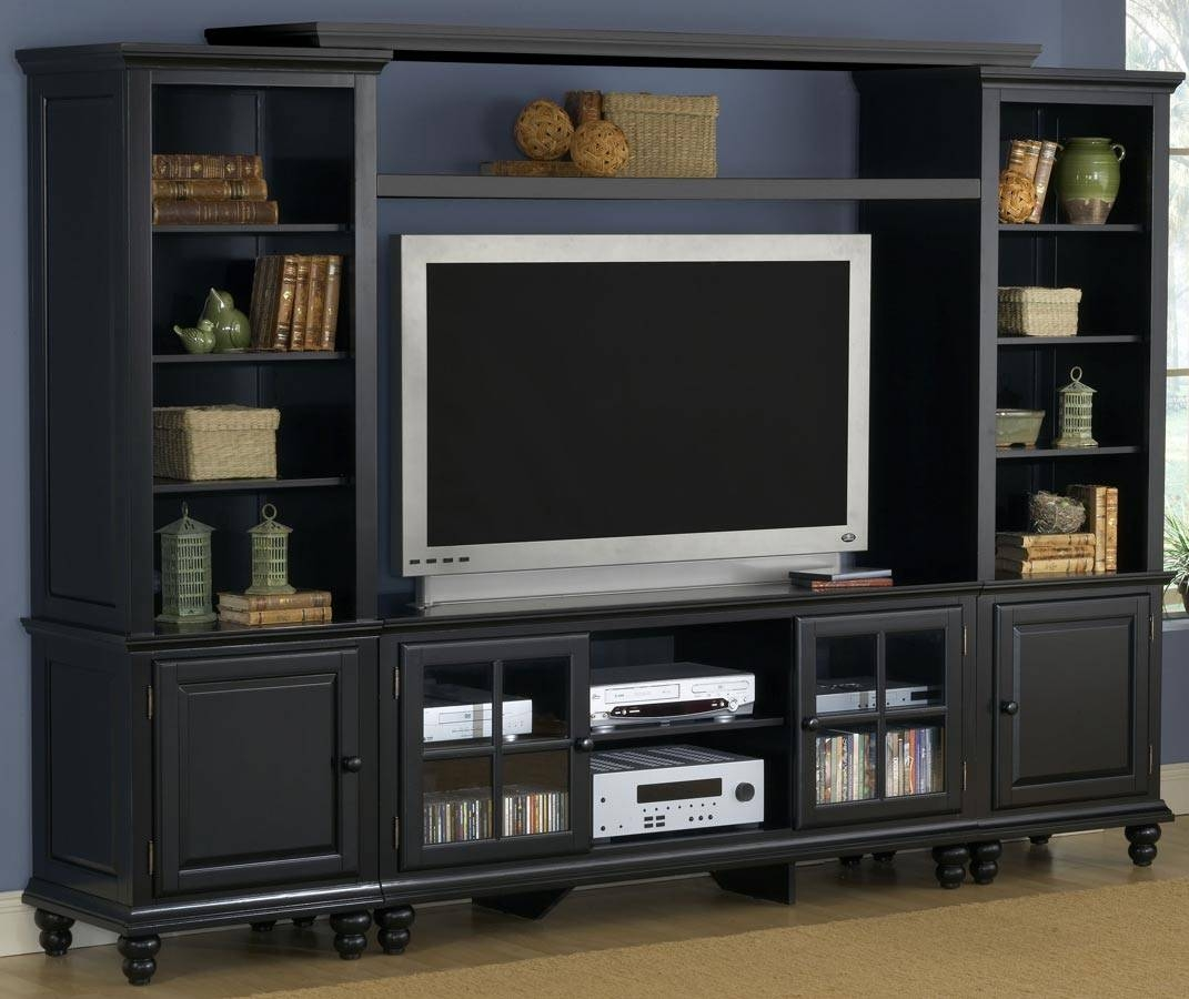 Black Entertainment Center For Flat Screen Tv And Bookcase Inside Large Black Tv Unit (View 7 of 15)