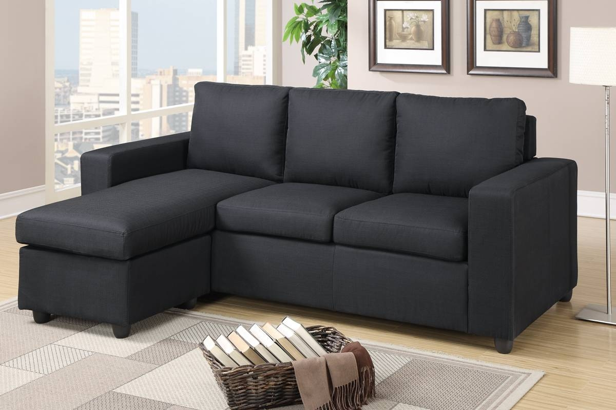 Black Fabric Sectional Sofa - Steal-A-Sofa Furniture Outlet Los pertaining to Poundex Sofas (Image 7 of 15)