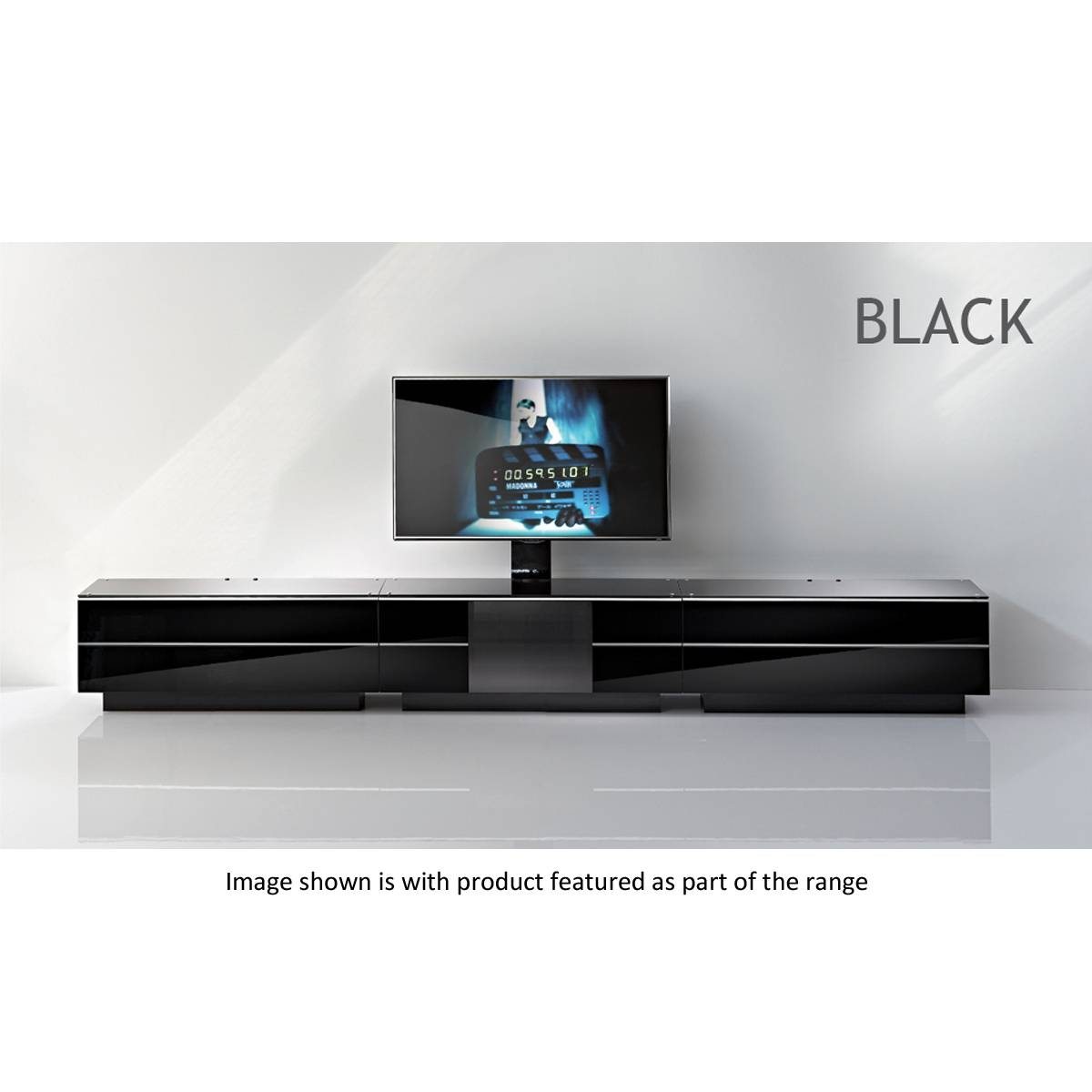 Black G S 110 Bl Tv Stand 110Cms Pertaining To Slimline Tv Cabinets (View 2 of 15)