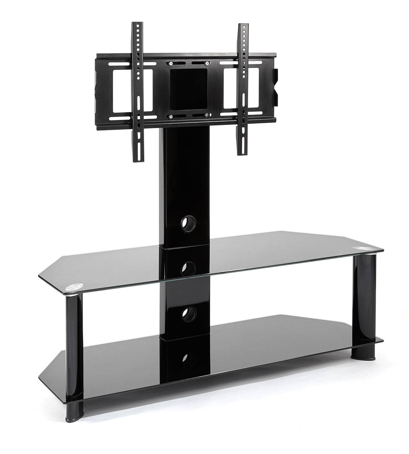 Black Glass Cantilever Tall Tv Stand | Mmt-Cb35 intended for Cheap Cantilever Tv Stands (Image 1 of 15)