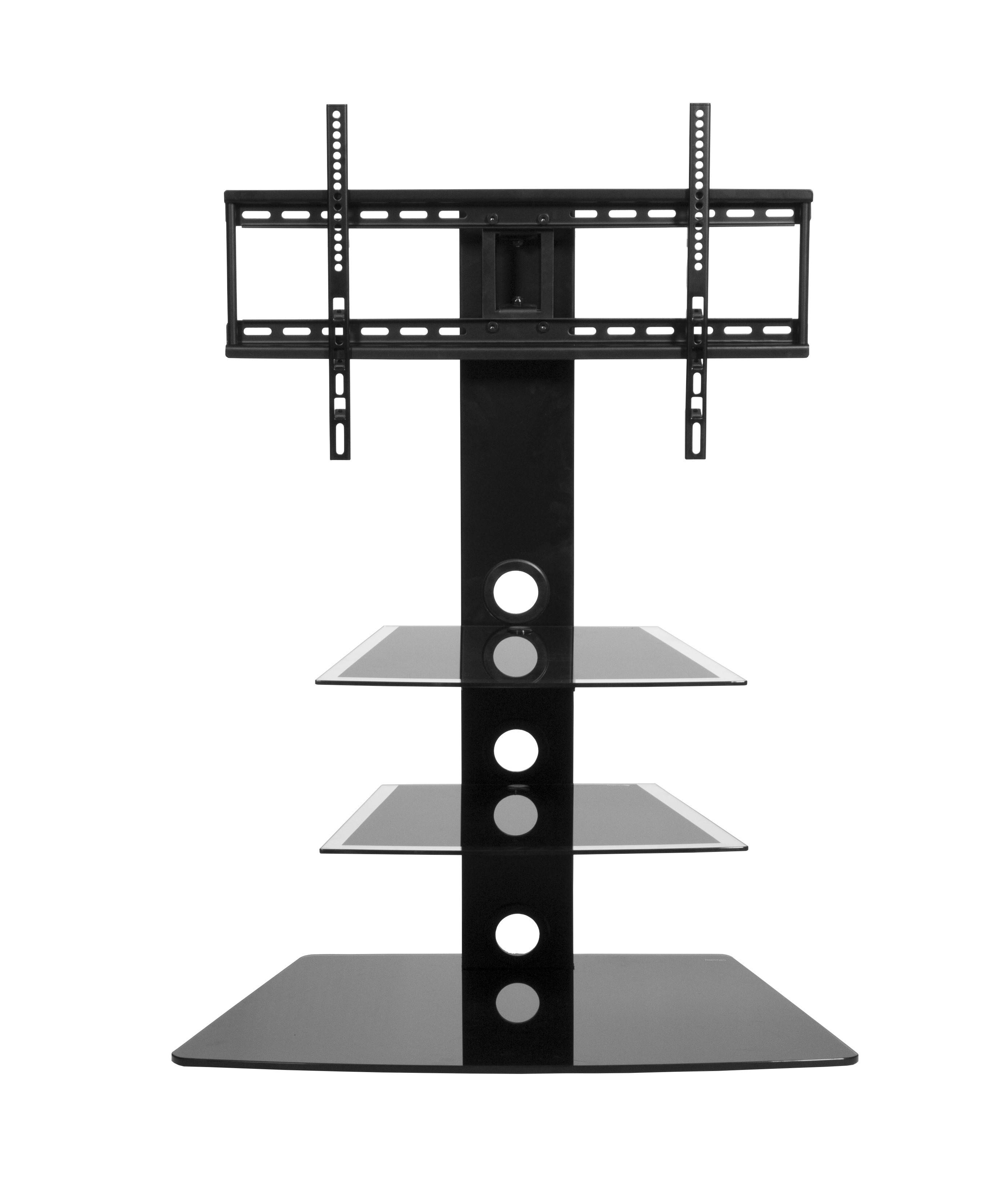Black Glass Cantilever Tall Tv Stand | Mmt Cb55 With Cheap Cantilever Tv Stands (View 3 of 15)