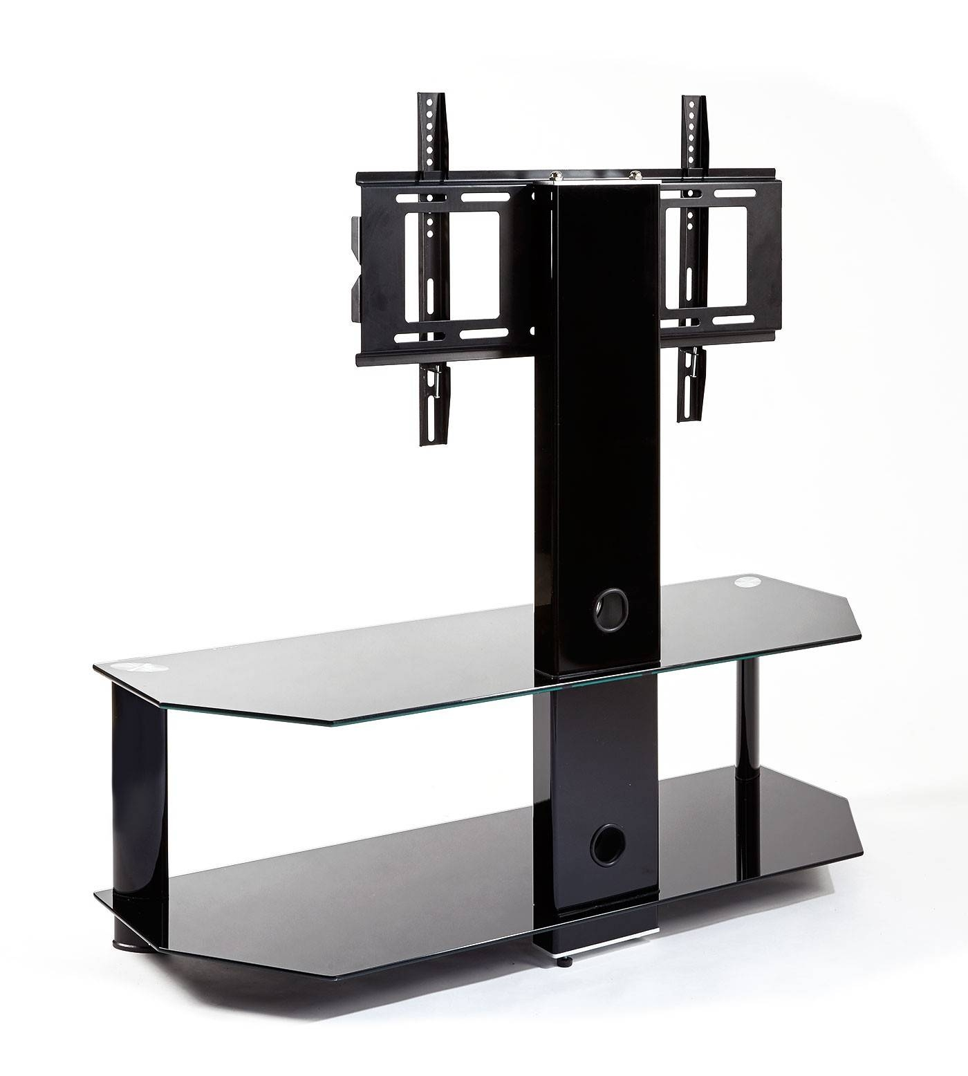 Black Glass Cantilever Tv Stand | Mmt-Cb110/2 with Cantilever Tv Stands (Image 7 of 15)