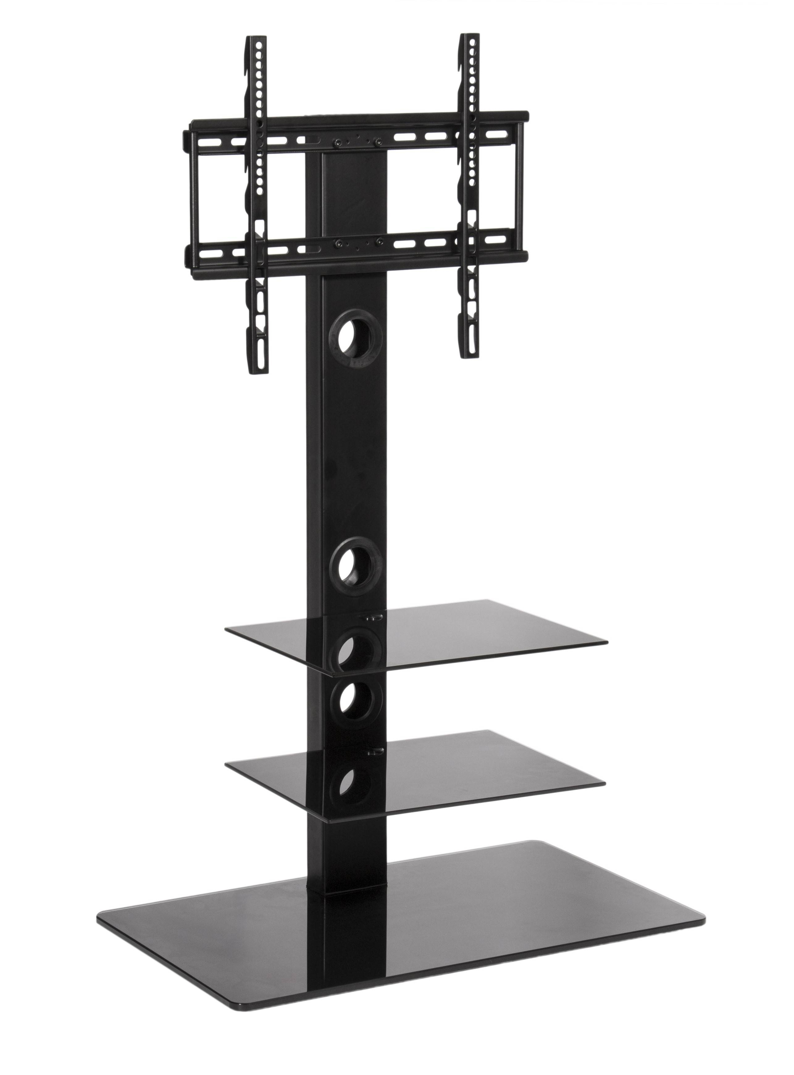 Black Glass Cantilever Tv Stand | Mmt-Cbm3 for Cantilever Tv Stands (Image 8 of 15)