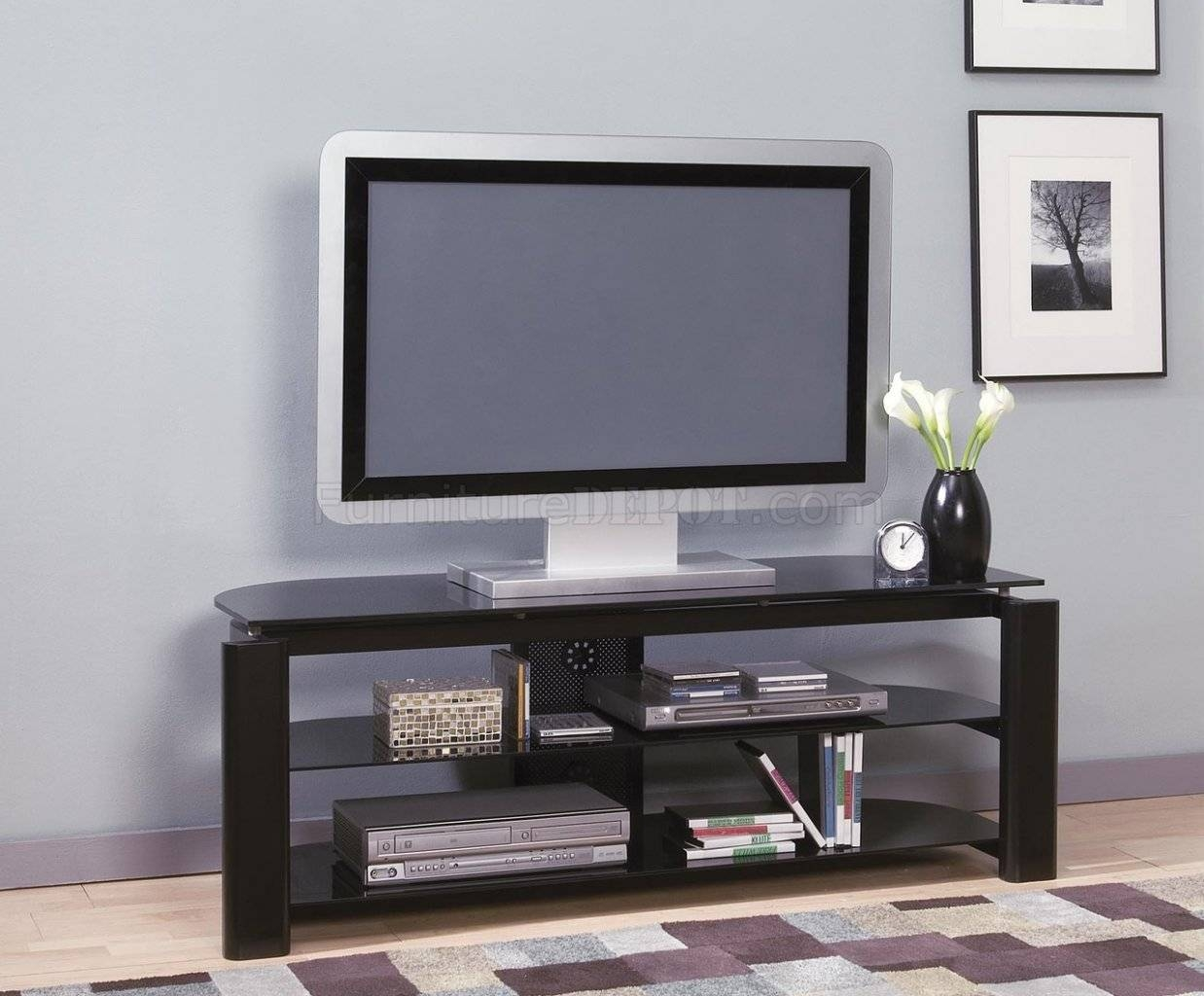 Black Glass & Metal Modern Tv Stand W/storage Shelves within Modern Glass Tv Stands (Image 2 of 15)