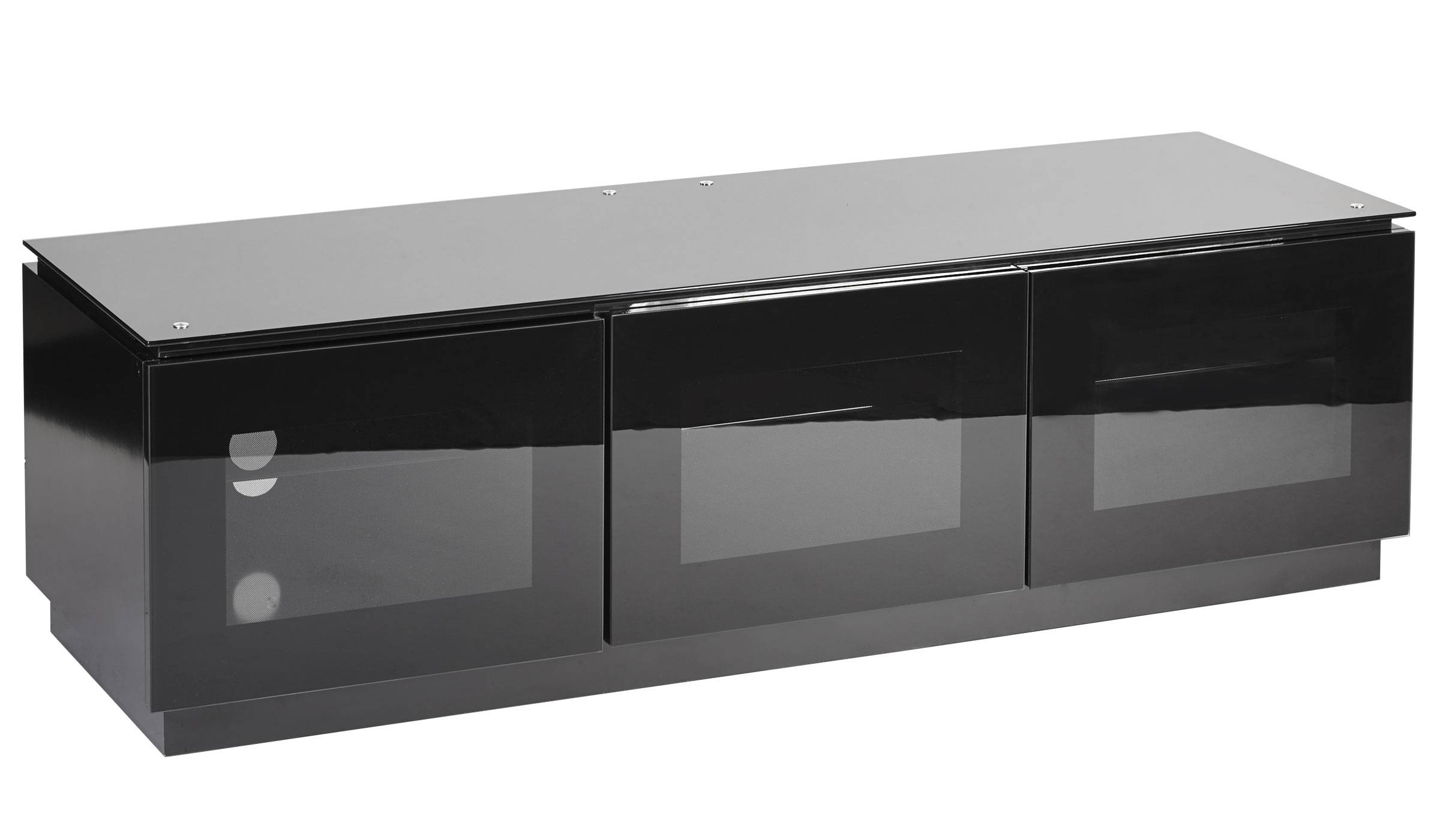 Black Gloss Tv Unit Up To 65 Inch Flat Tv | Mmt-D1500 regarding Glass Tv Cabinets With Doors (Image 4 of 15)