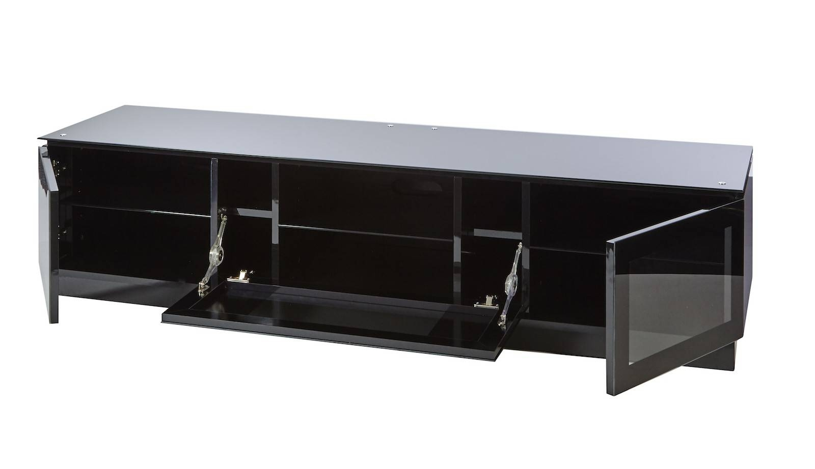 Black Gloss Tv Unit Up To 80 Inch Flat Screen Tv | Mmt-D1800 pertaining to Black Tv Cabinets With Doors (Image 6 of 15)
