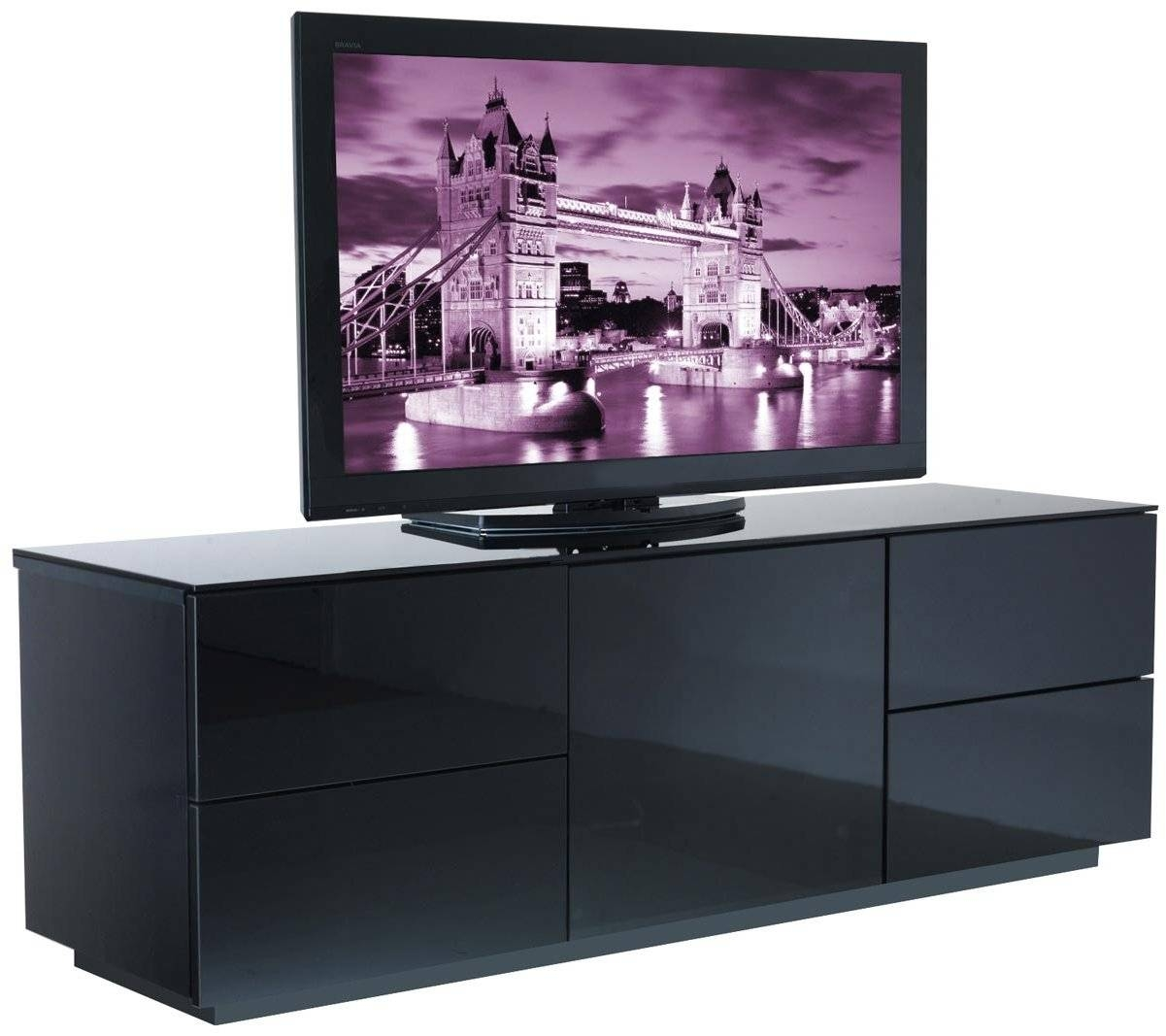 Black High Gloss Tv Cabinets Uk | Memsaheb Intended For Shiny Black Tv Stands (View 4 of 15)
