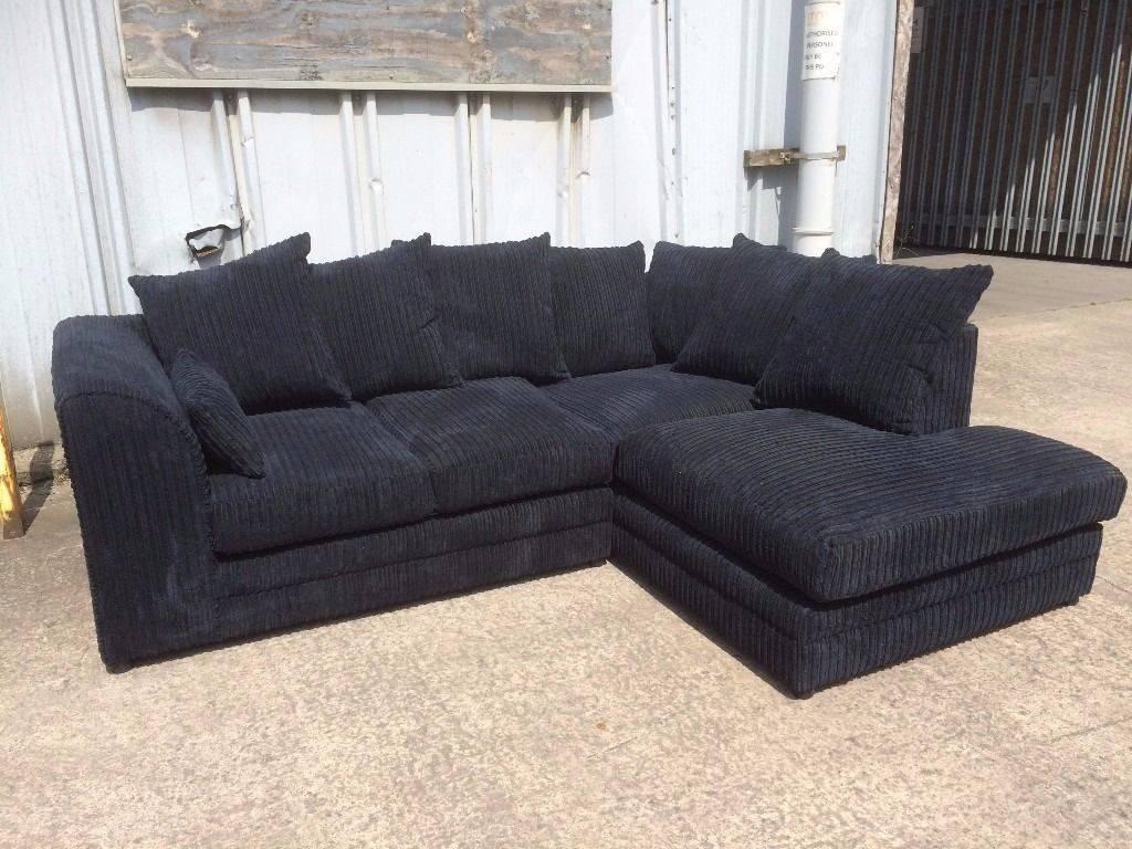 Black Jumbo Cord Corner Sofa With Left Hand Chaise Effect - New inside Black Corner Sofas (Image 6 of 15)