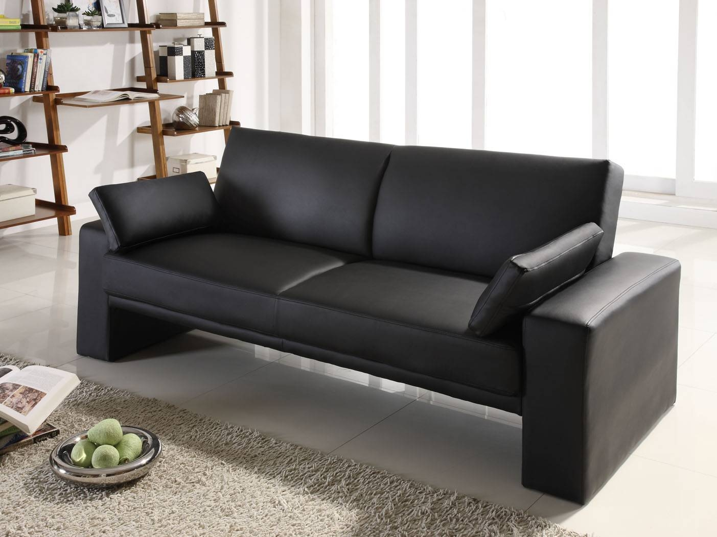 Black Leather Convertible Sofa 92 With Black Leather Convertible pertaining to Black Leather Convertible Sofas (Image 1 of 15)