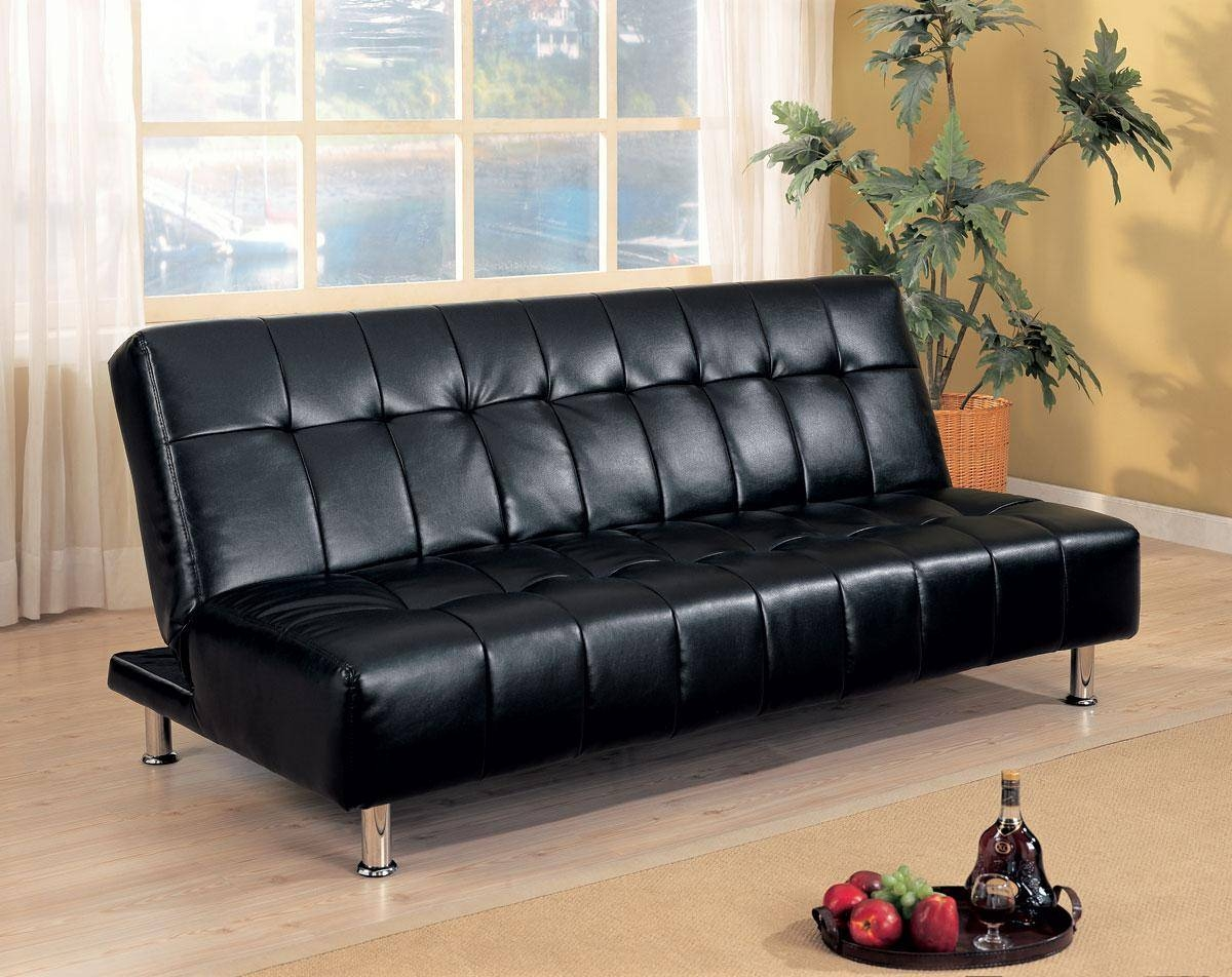Black Leather Convertible Sofa | Centerfieldbar in Black Leather Convertible Sofas (Image 4 of 15)