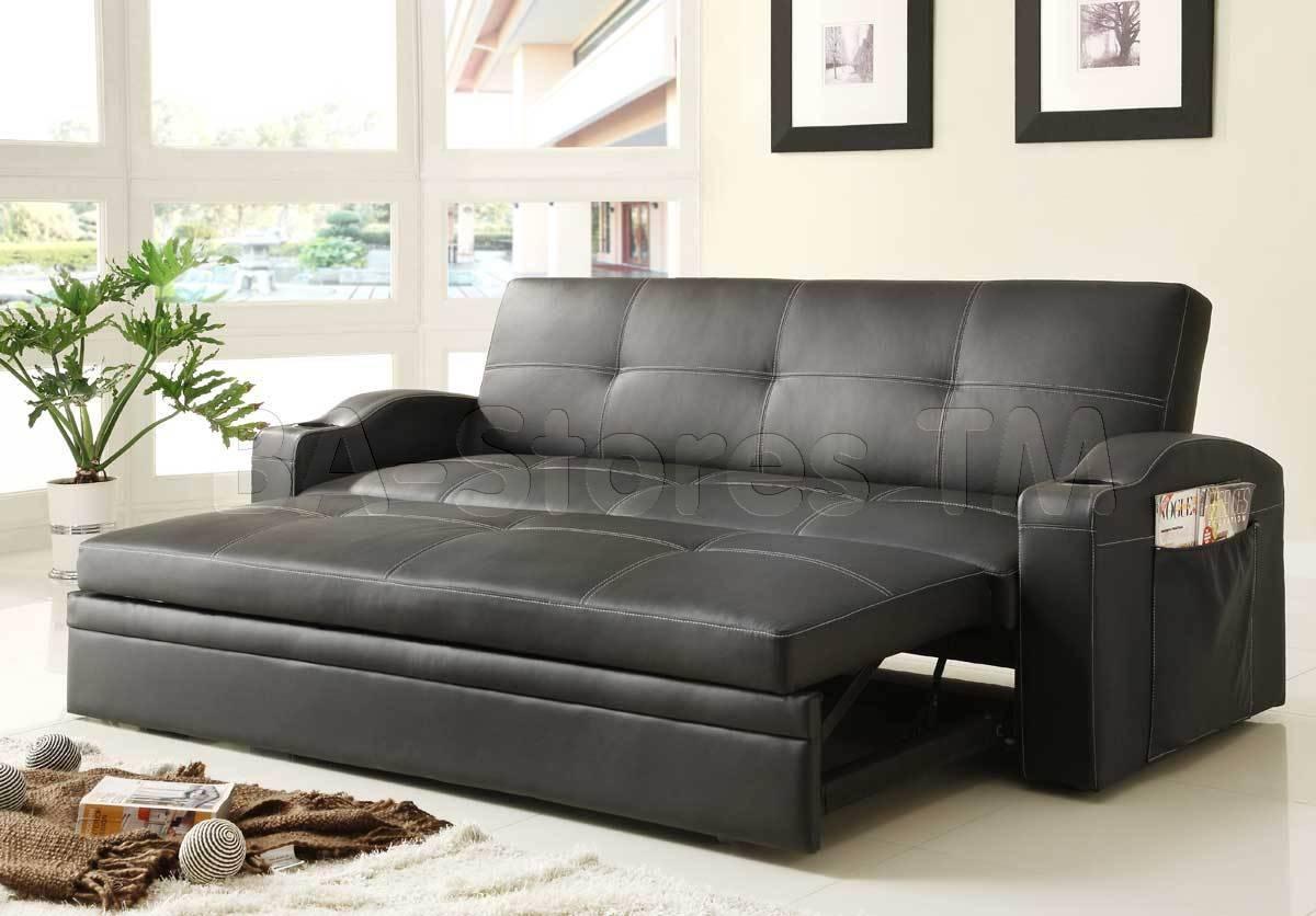 Black Leather Convertible Sofa | Centerfieldbar regarding Euro Lounger Sofa Beds (Image 1 of 15)