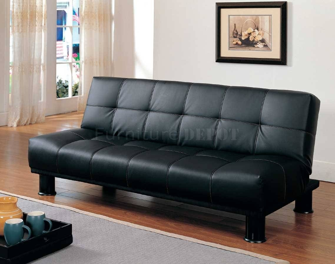 Black Leather Convertible Sofa inside Black Leather Convertible Sofas (Image 2 of 15)