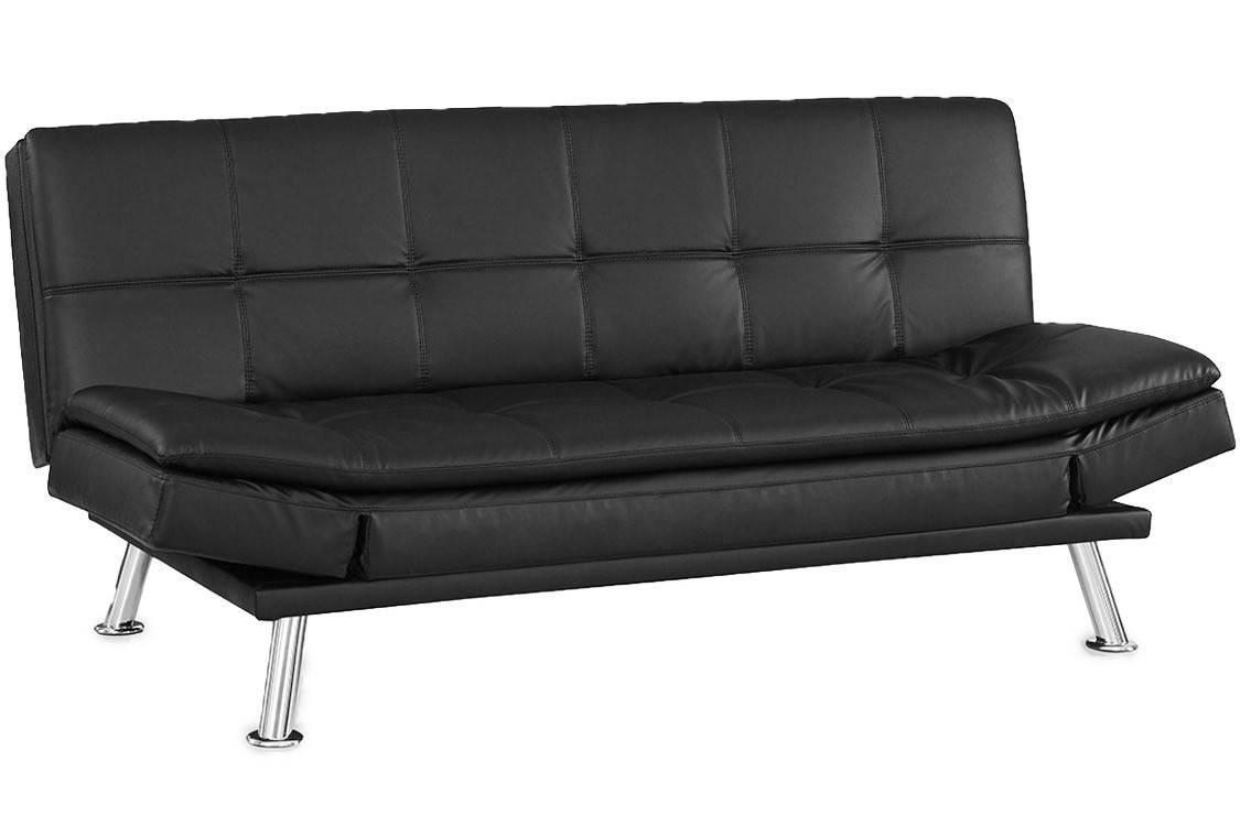 Black Leather Futon Lounger | Niles Serta Euro Lounger | The Futon for Leather Fouton Sofas (Image 2 of 15)