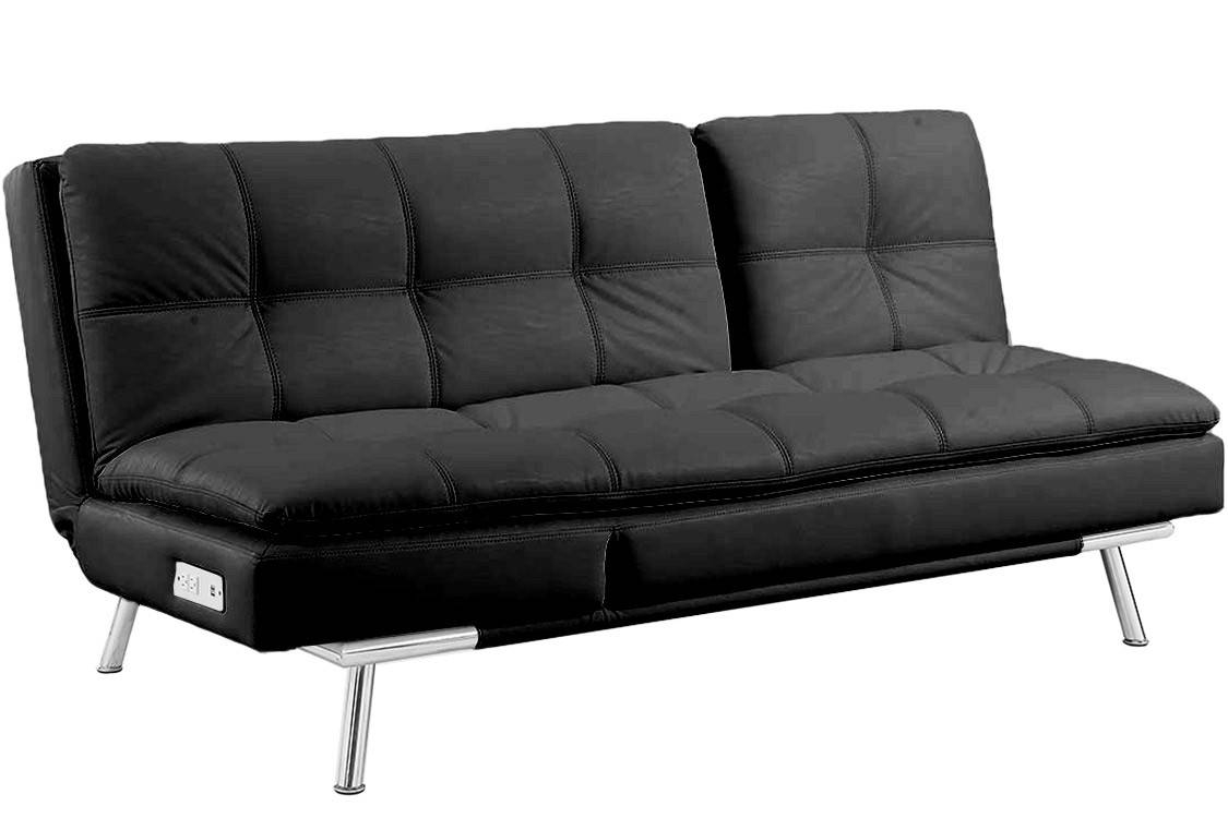 Black Leather Futon Sleeper | Palermo Serta Modern Lounger | The intended for Leather Fouton Sofas (Image 3 of 15)