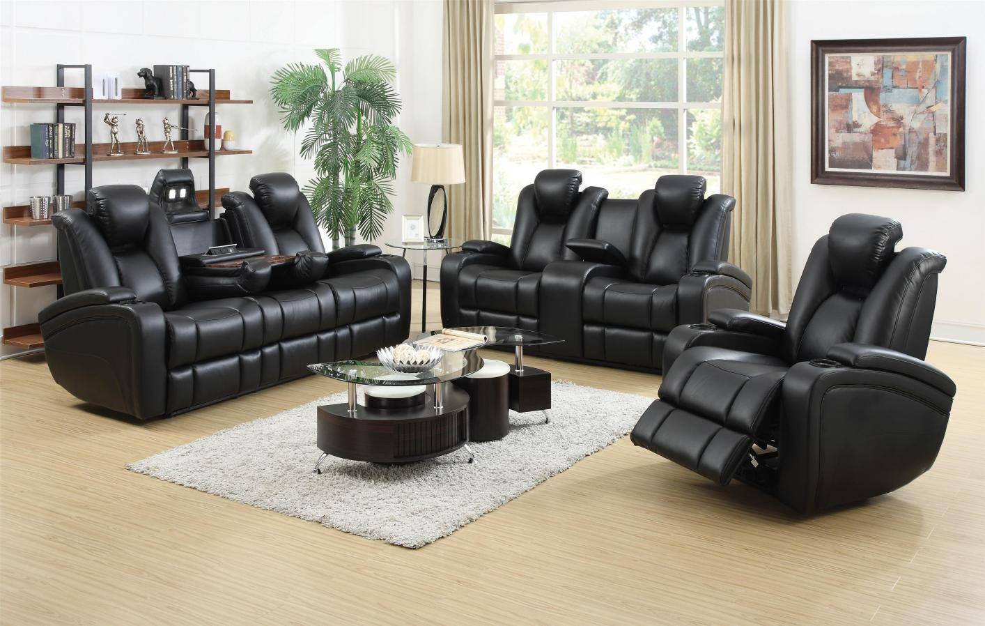 Black Leather Power Reclining Sofa And Loveseat Set - Steal-A-Sofa with Black Leather Sofas and Loveseat Sets (Image 4 of 15)