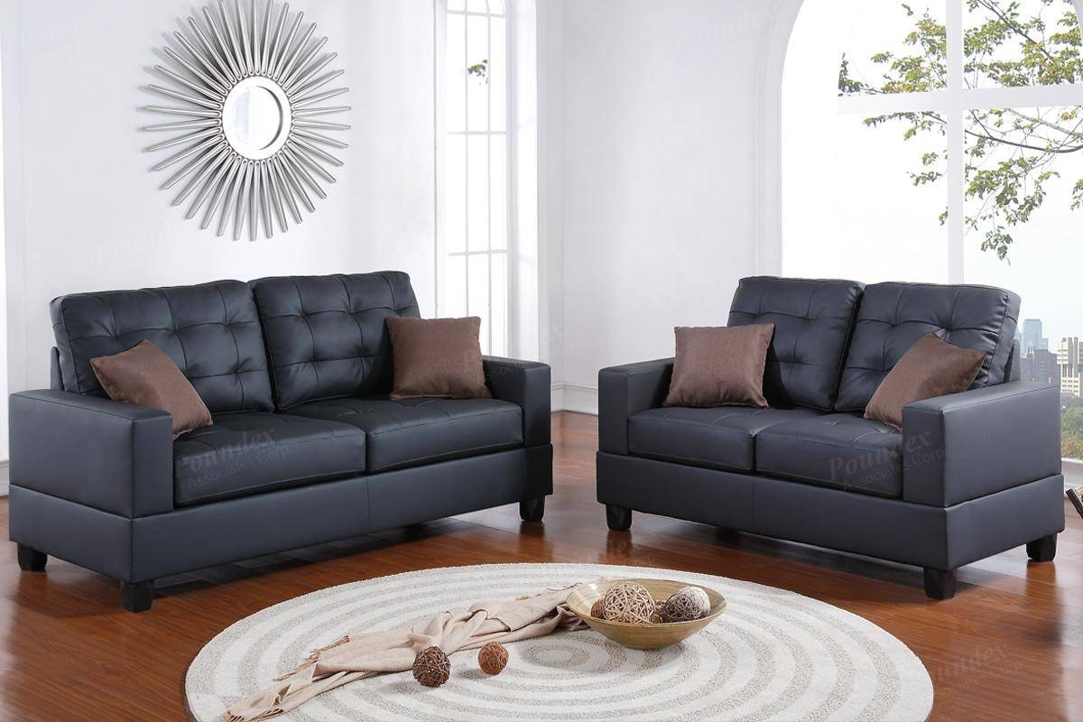 Black Leather Sofa And Loveseat Set - Steal-A-Sofa Furniture in Black Leather Sofas and Loveseat Sets (Image 5 of 15)