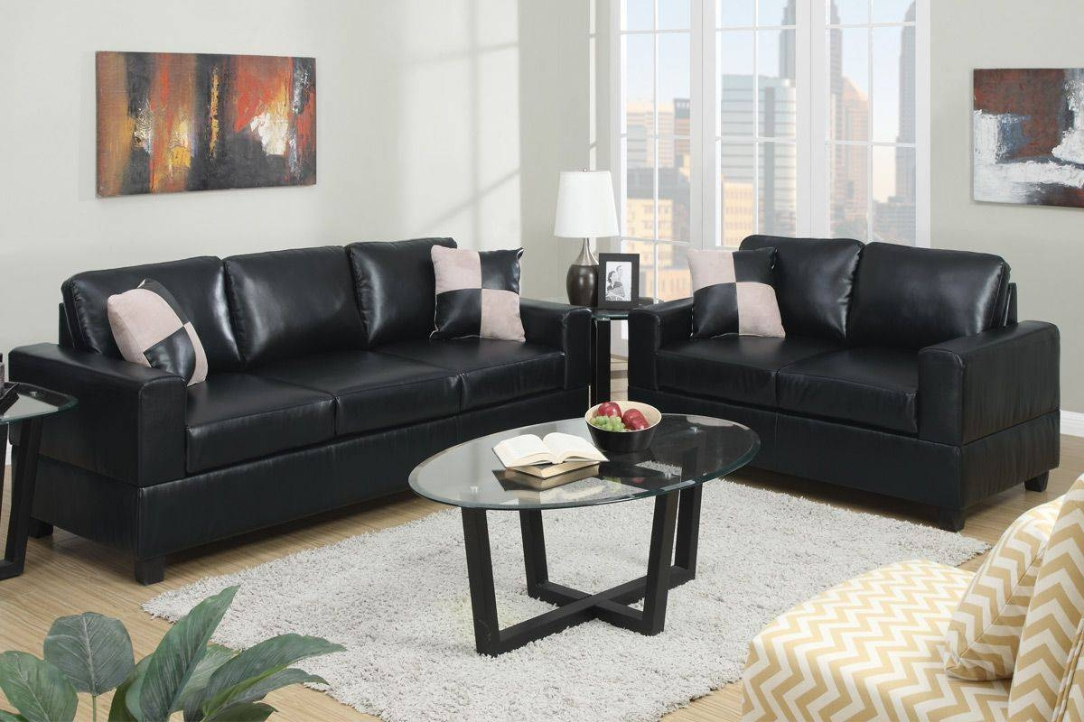 Featured Photo of Black Leather Sofas And Loveseat Sets