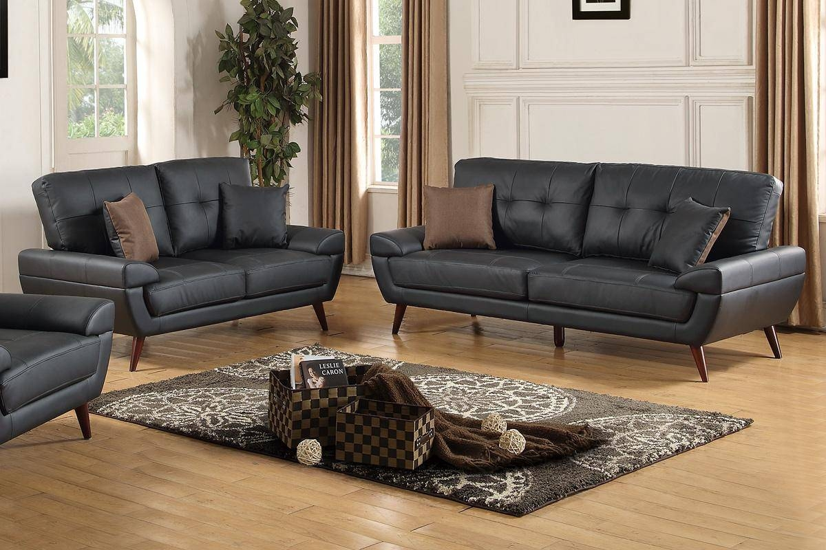 Black Leather Sofa And Loveseat Set - Steal-A-Sofa Furniture with regard to Black Leather Sofas and Loveseat Sets (Image 8 of 15)
