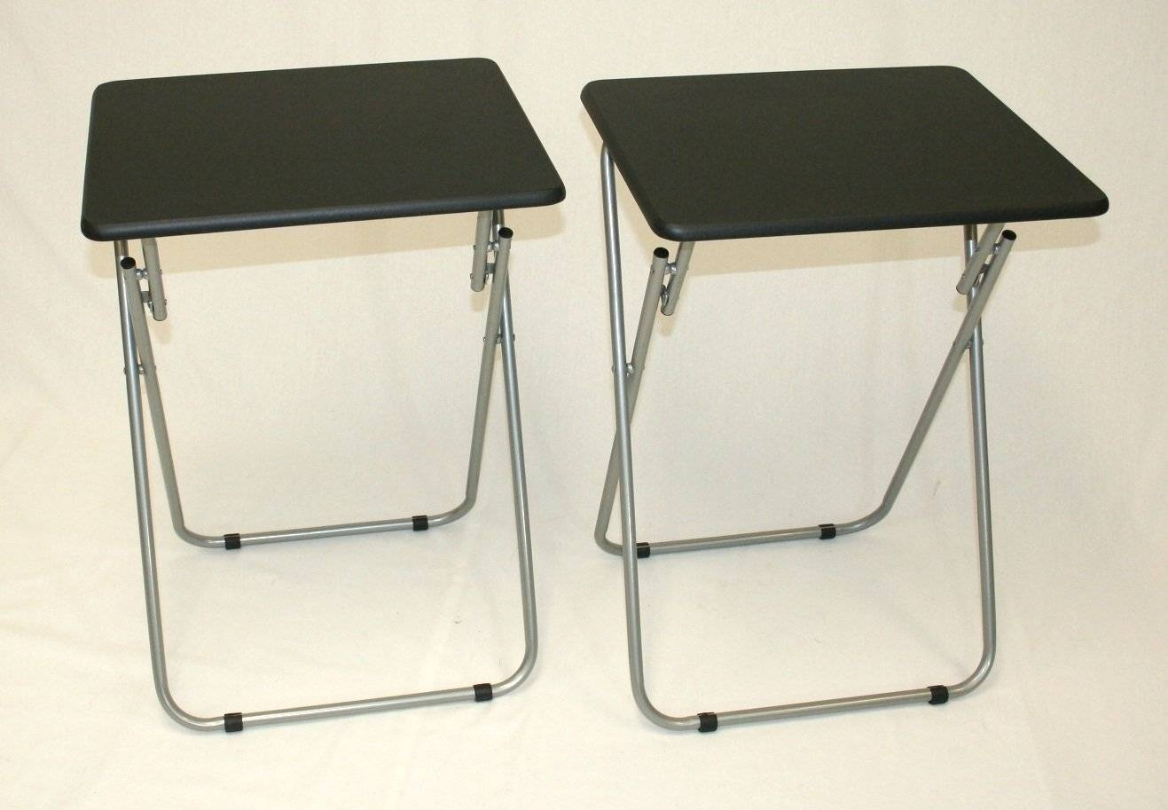 Black Leathertv Tray Table With Stainless Steel Folding Stand Ideas inside Folding Tv Trays With Stand (Image 2 of 15)