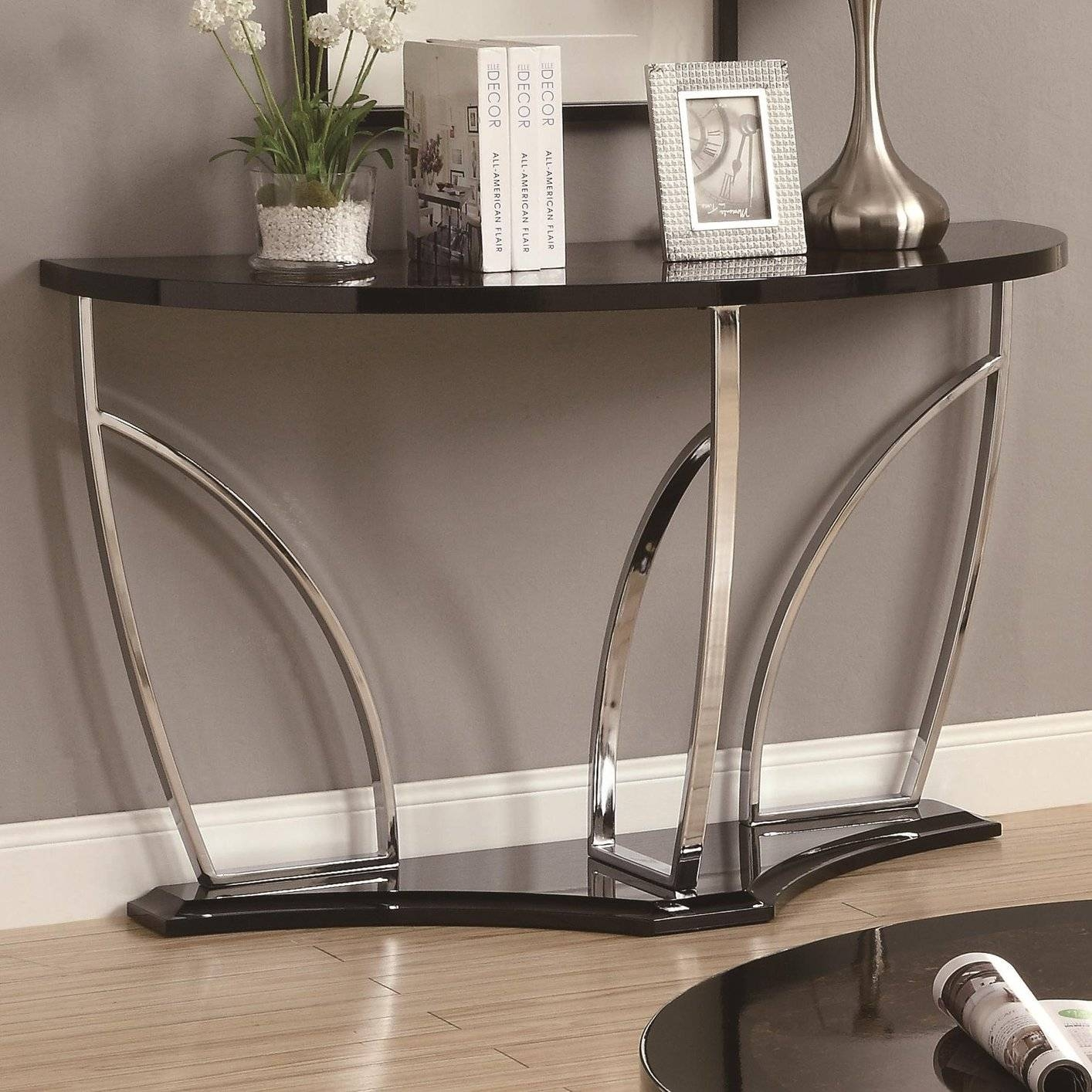Black Marble Sofa Table – Steal A Sofa Furniture Outlet Los Angeles Ca For Chrome Sofa Tables (View 2 of 15)