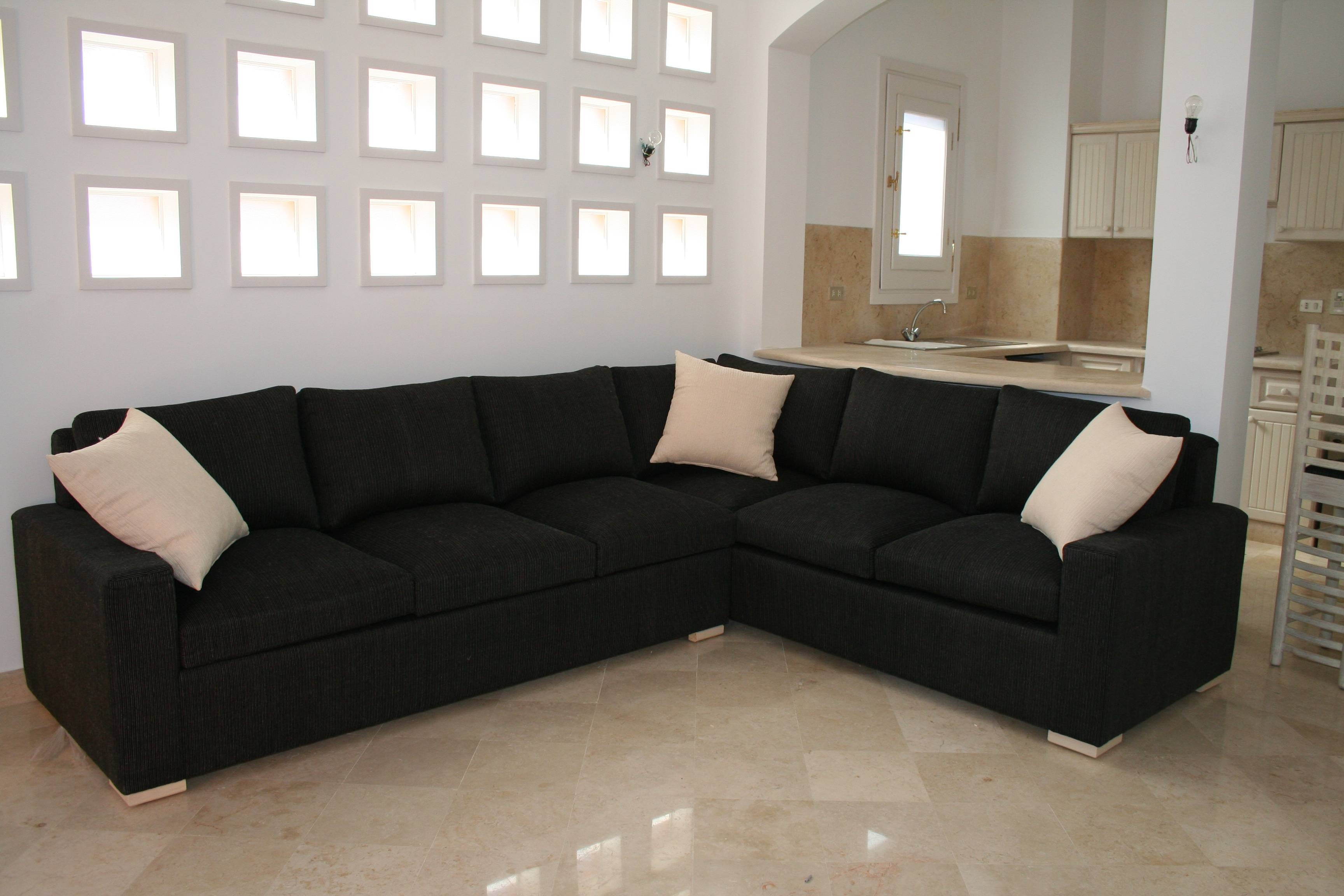 Black Microfiber L Shaped Sectional Sofa With Track Armrest Using with regard to Small L-Shaped Sectional Sofas (Image 3 of 15)