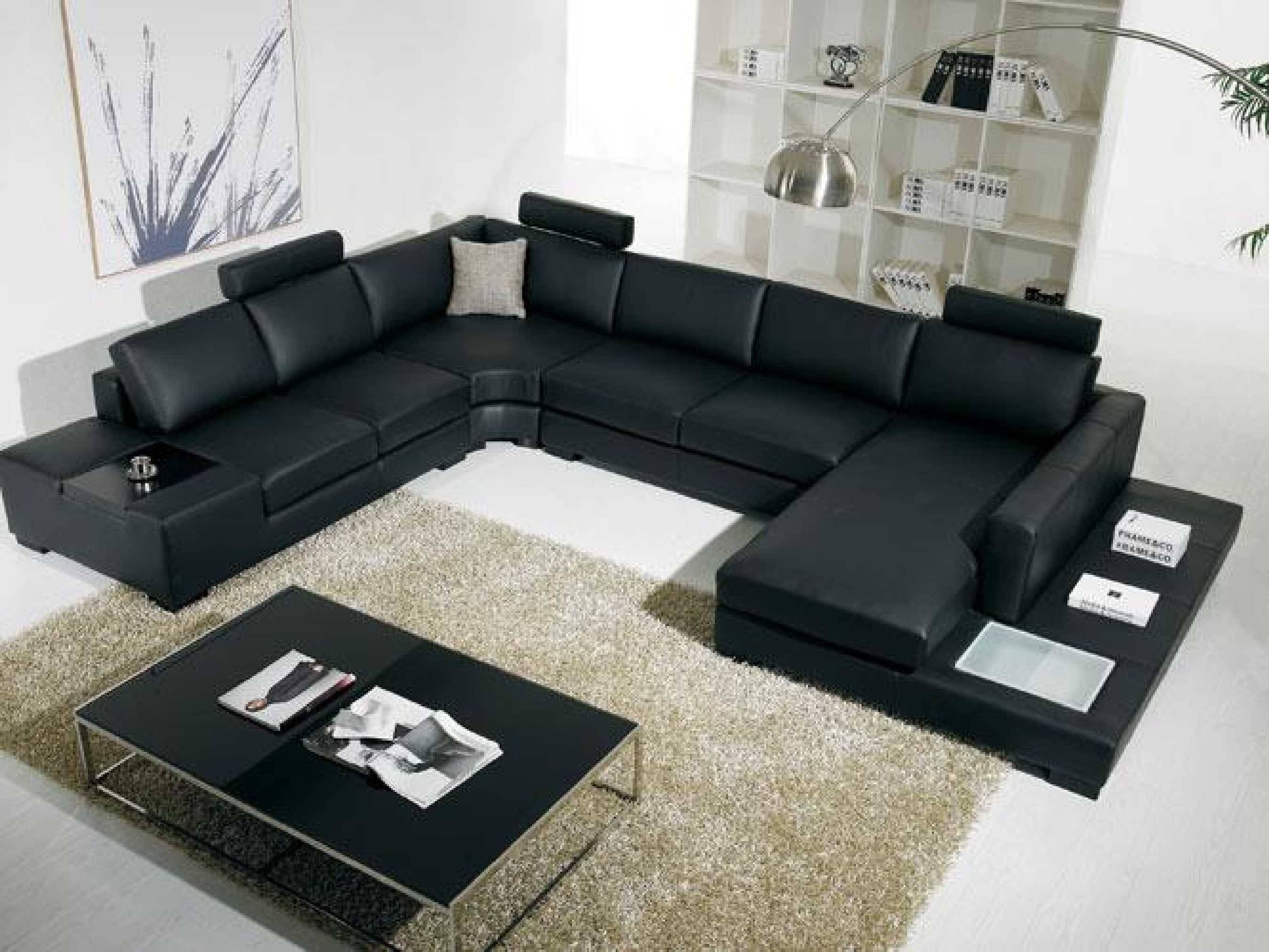 Black Modern Sectional Sofa With End Table Corner - S3Net with Black Modern Sectional Sofas (Image 1 of 15)