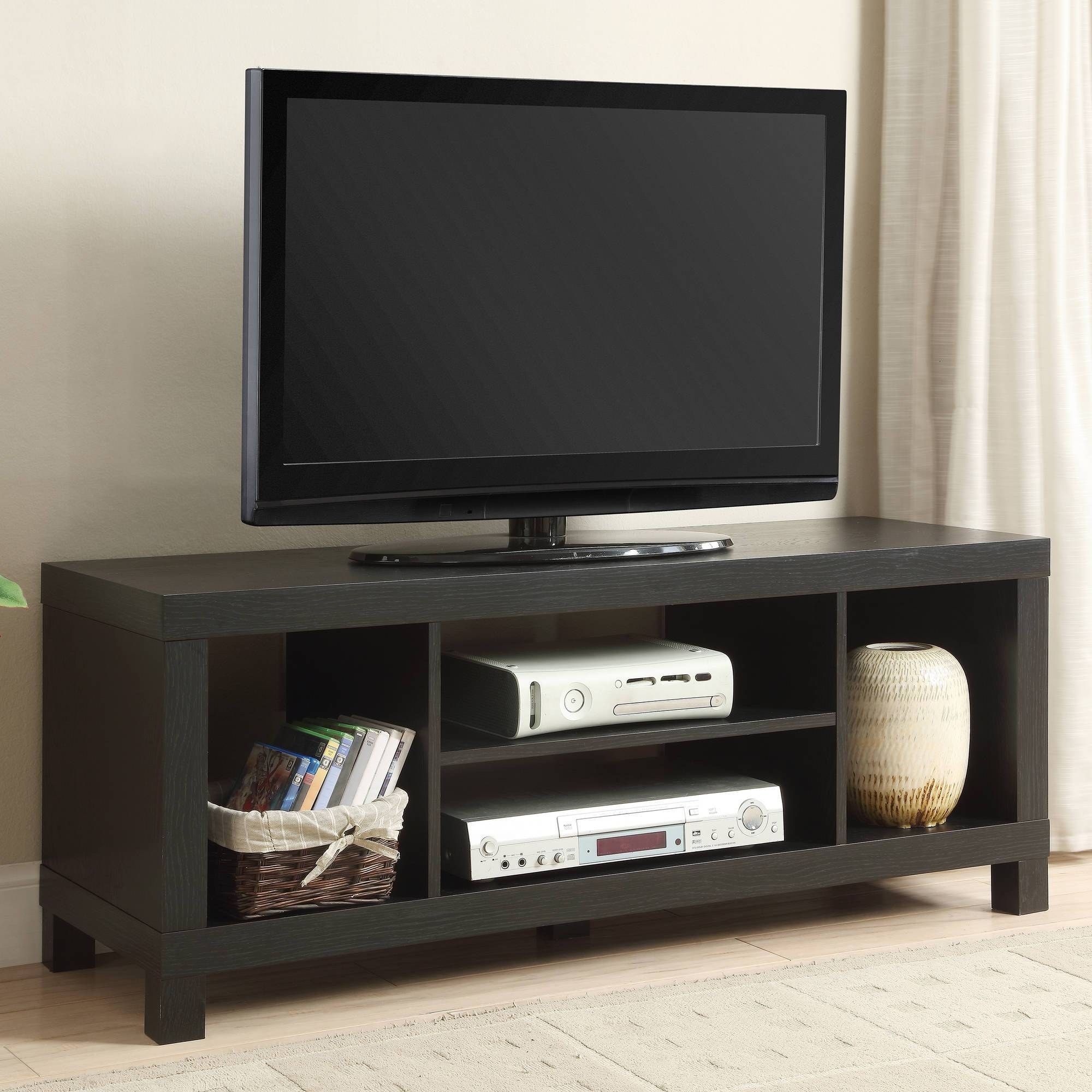 """Black Oak Tv Stand For Tvs Up To 42"""" – Walmart With Regard To Long Black Tv Stands (View 14 of 15)"""