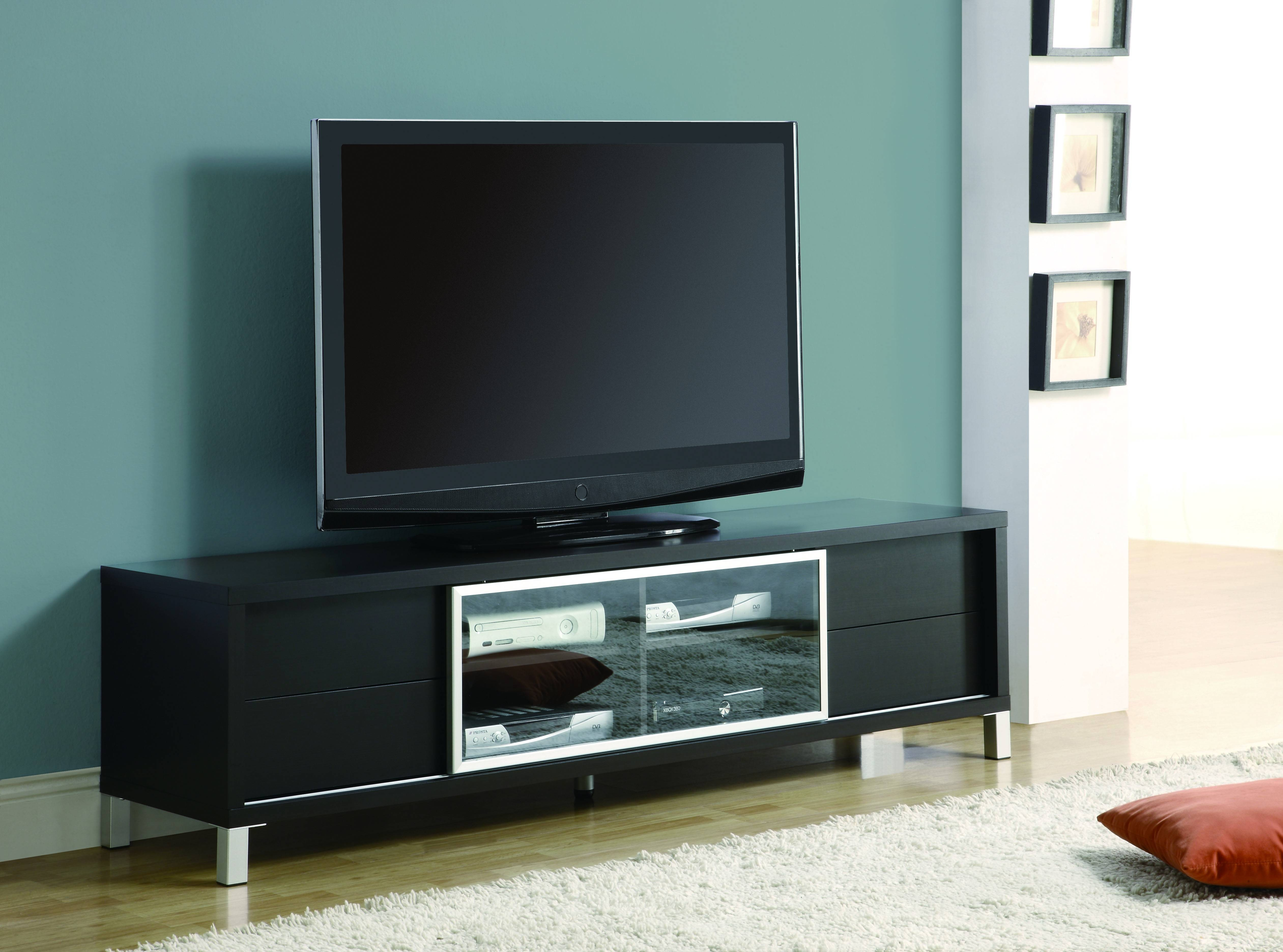 Black Painted Oak Wood Wide Screen Tv Stand Mixed Light Blue Wall In Stylish Tv Stands (View 15 of 15)